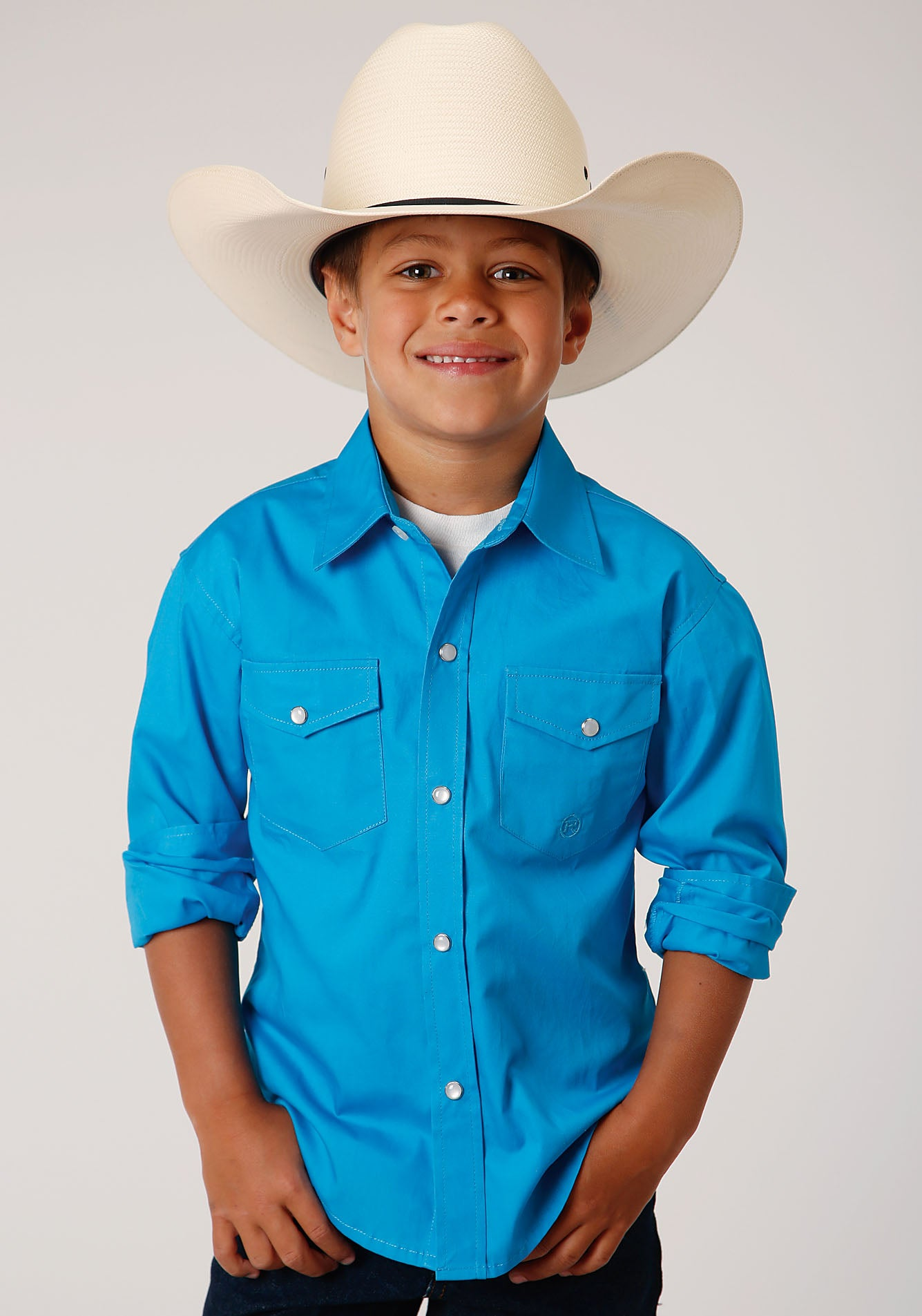 ROPER BOYS BLUE 00068 SOLID POPLIN - TURQUOISE BOYS AMARILLO COLLECTION- OASIS LONG SLEEVE