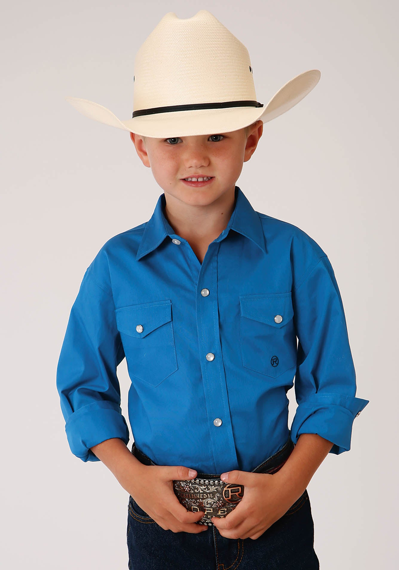 ROPER BOYS BLUE 00227 SOLID POPLIN - ROYAL BOY'S AMARILLO COLLECTION - BLUE RIDGE LONG SLEEVE