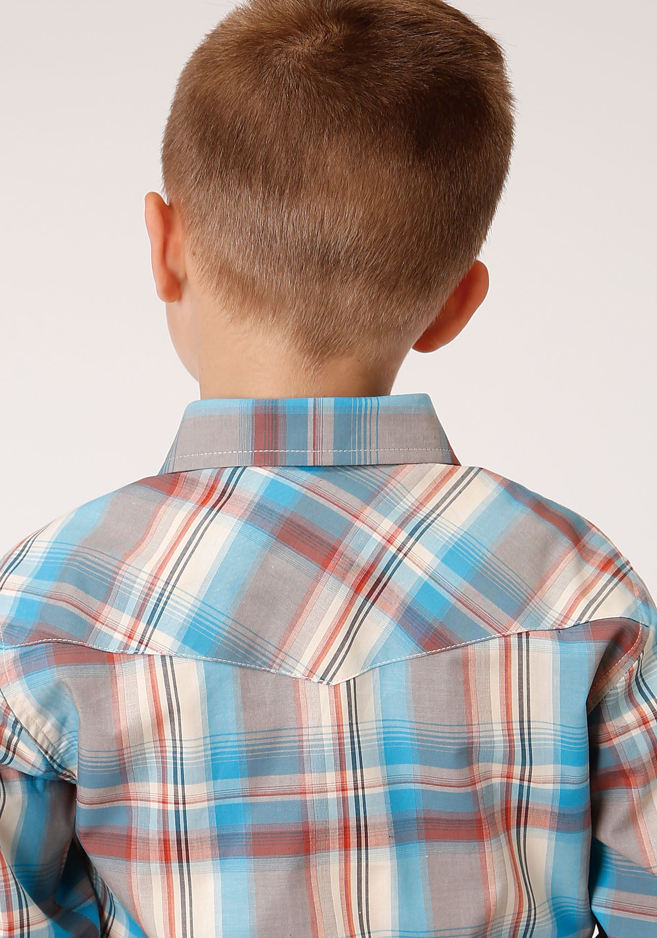 ROPER BOYS BROWN 00016 OASIS PLAID BOYS AMARILLO COLLECTION- OASIS LONG SLEEVE