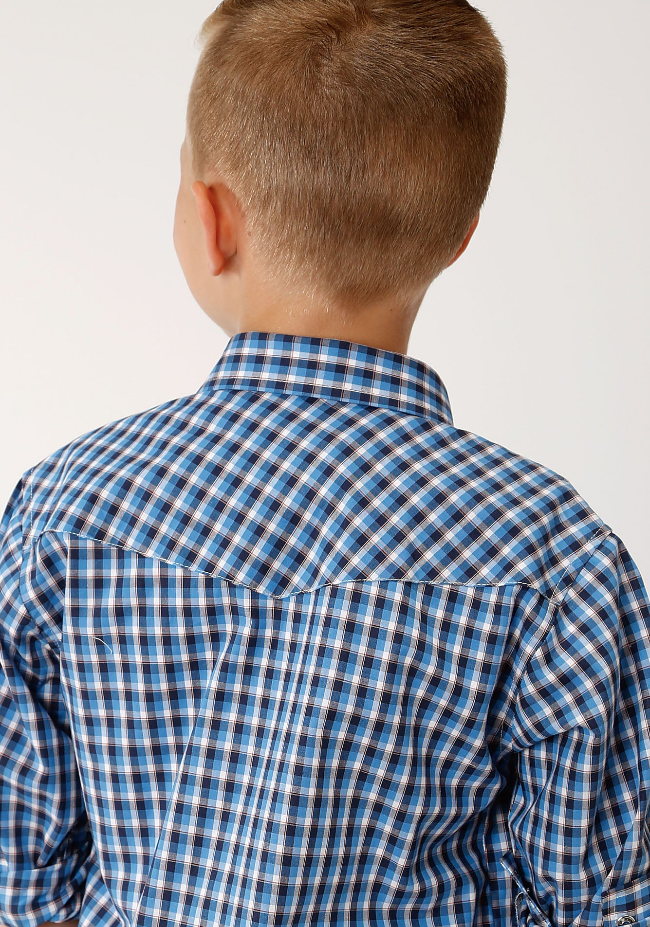 ROPER BOYS BLUE 00021 AMERICANA CHECK BOYS AMARILLO COLLECTION- HERITAGE LONG SLEEVE