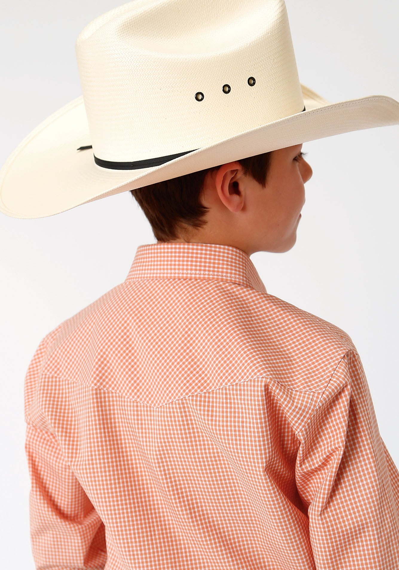 ROPER BOYS ORANGE 00069 MINI CHECK - ORANGE BOYS AMARILLO COLLECTION- OASIS LONG SLEEVE