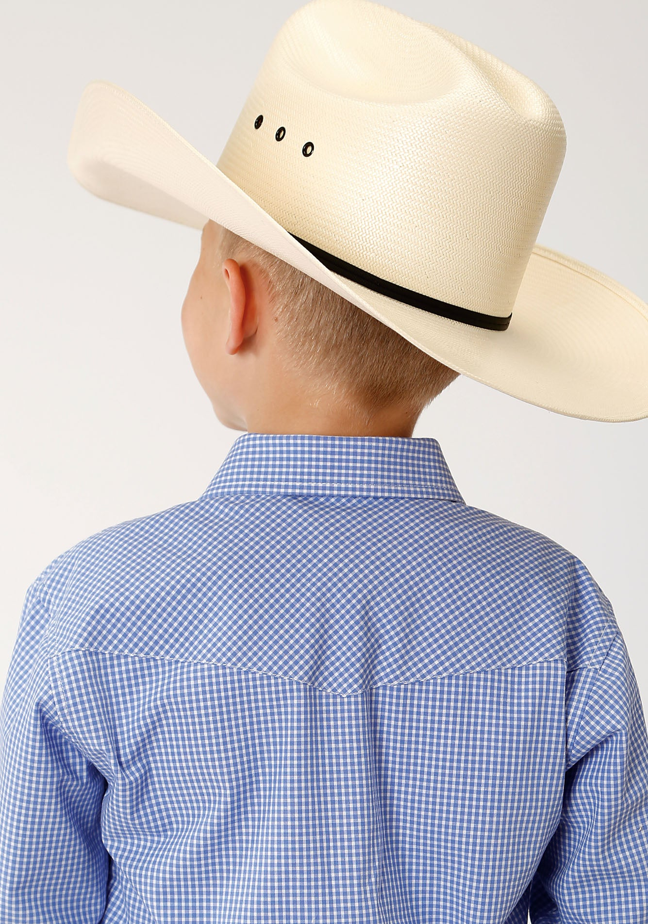 ROPER BOYS BLUE 00069 MINI CHECK - PERIWINKLE BOYS AMARILLO COLLECTION- DUSK LONG SLEEVE