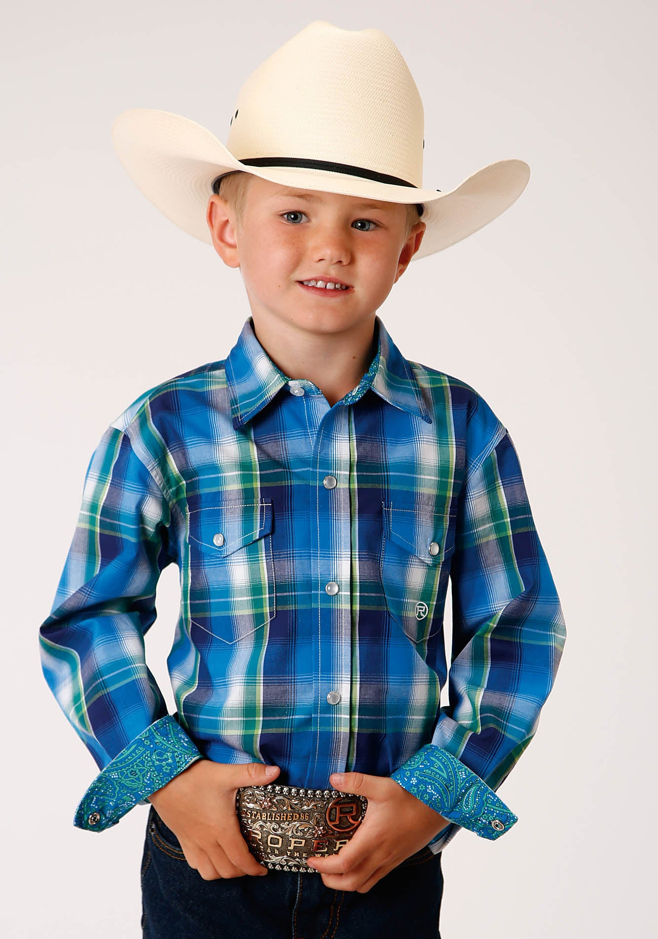 ROPER BOYS BLUE 00157 WATER PLAID BOY'S AMARILLO COLLECTION - BLUE RIDGE LONG SLEEVE