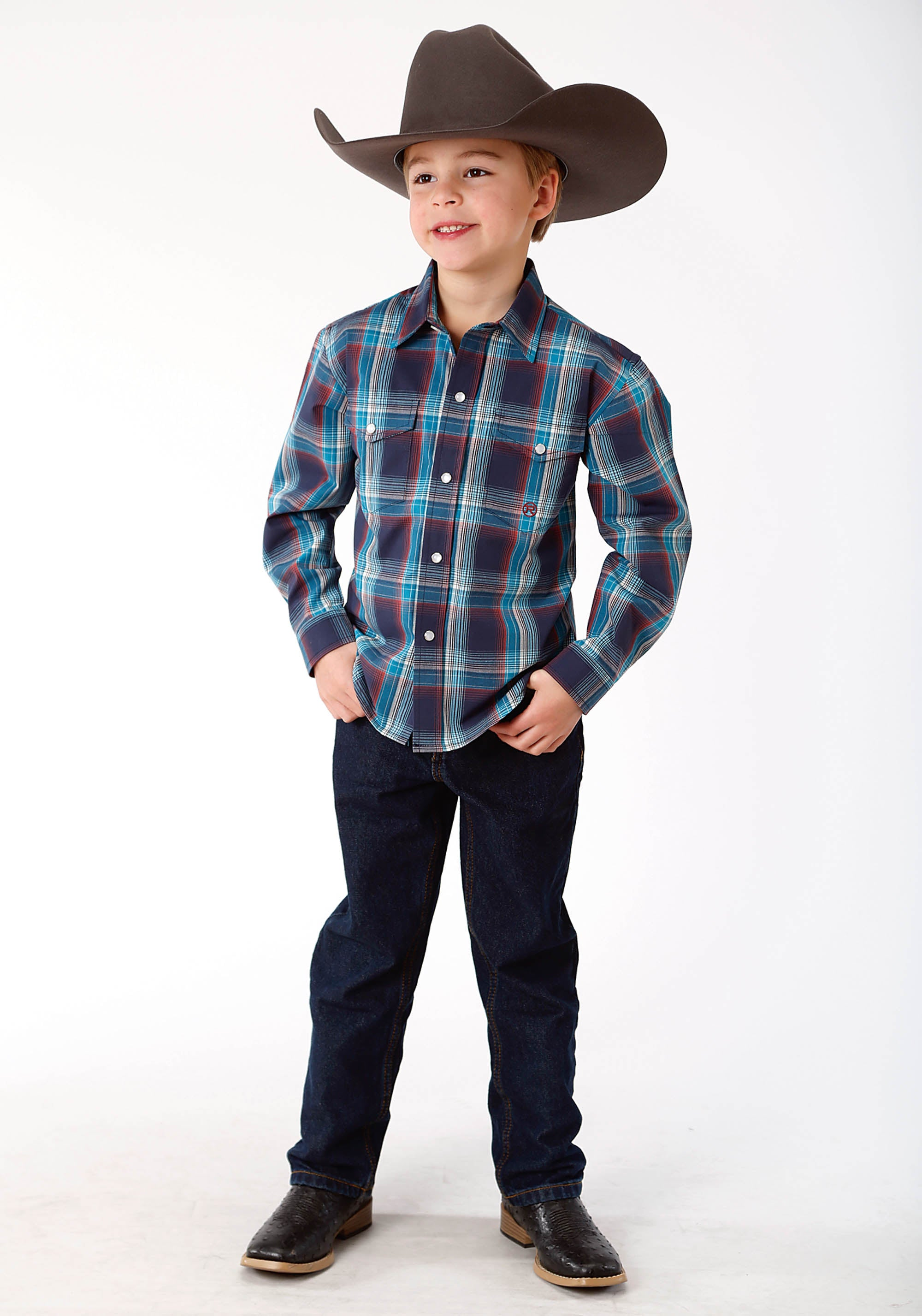 ROPER BOYS BLUE 9607 NIGHTFALL PLAID BOYS AMARILLO COLLECTION- AUTUMN SUNSET LONG SLEEVE