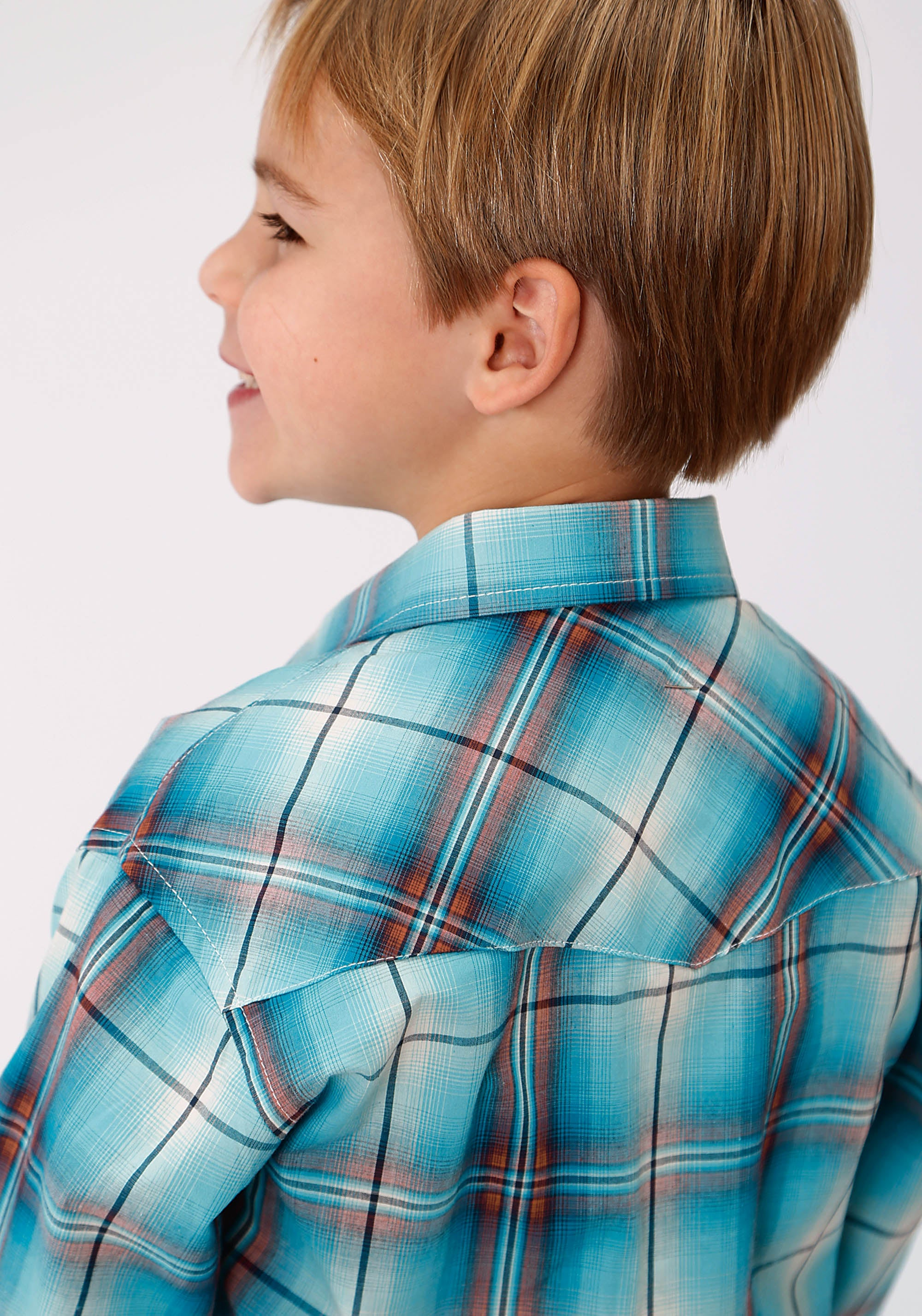 ROPER BOYS BLUE 9613 AUTUMN SUSNSET PLAID BOYS AMARILLO COLLECTION- AUTUMN SUNSET LONG SLEEVE