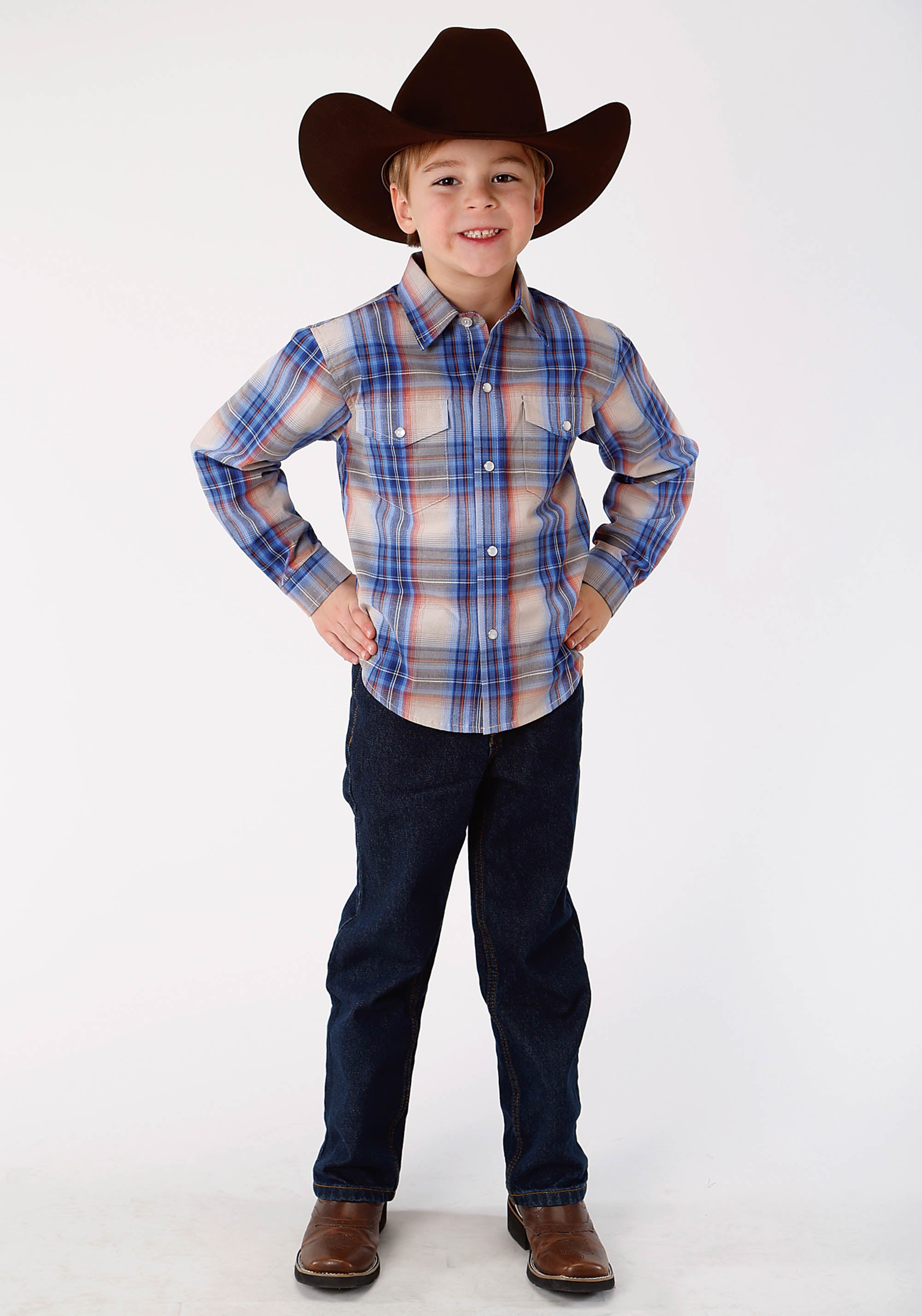 ROPER BOYS BLUE 9641 COPPER CREEK PLAID BOYS AMARILLO COLLECTION- COPPER CREEK LONG SLEEVE