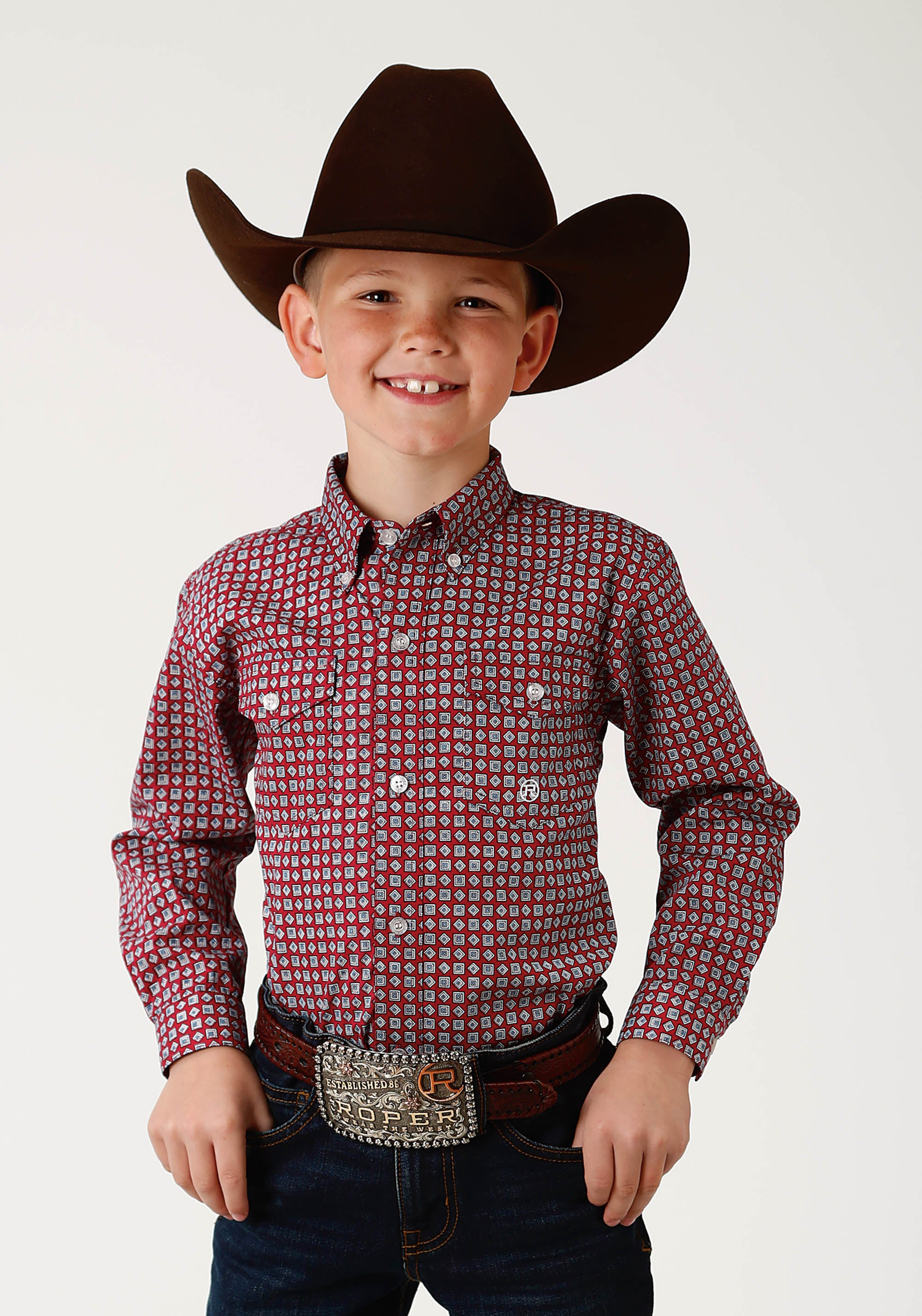 ROPER BOYS RED 2440 RED GEO BOYS AMARILLO COLLECTION- RED MARBLE LONG SLEEVE