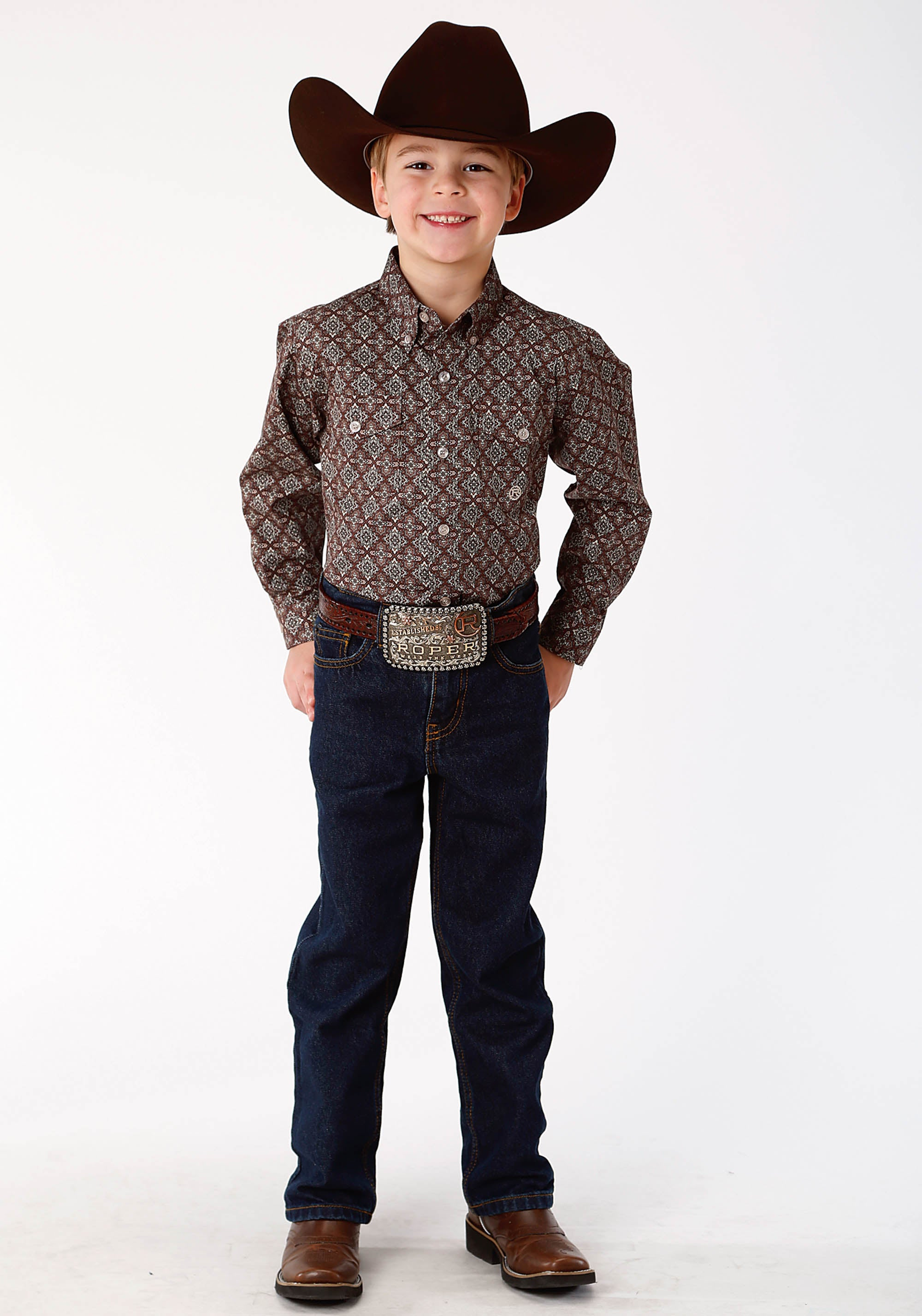 ROPER BOYS BROWN 9644 VICTORIAN FOULARD BOYS AMARILLO COLLECTION- COPPER CREEK LONG SLEEVE
