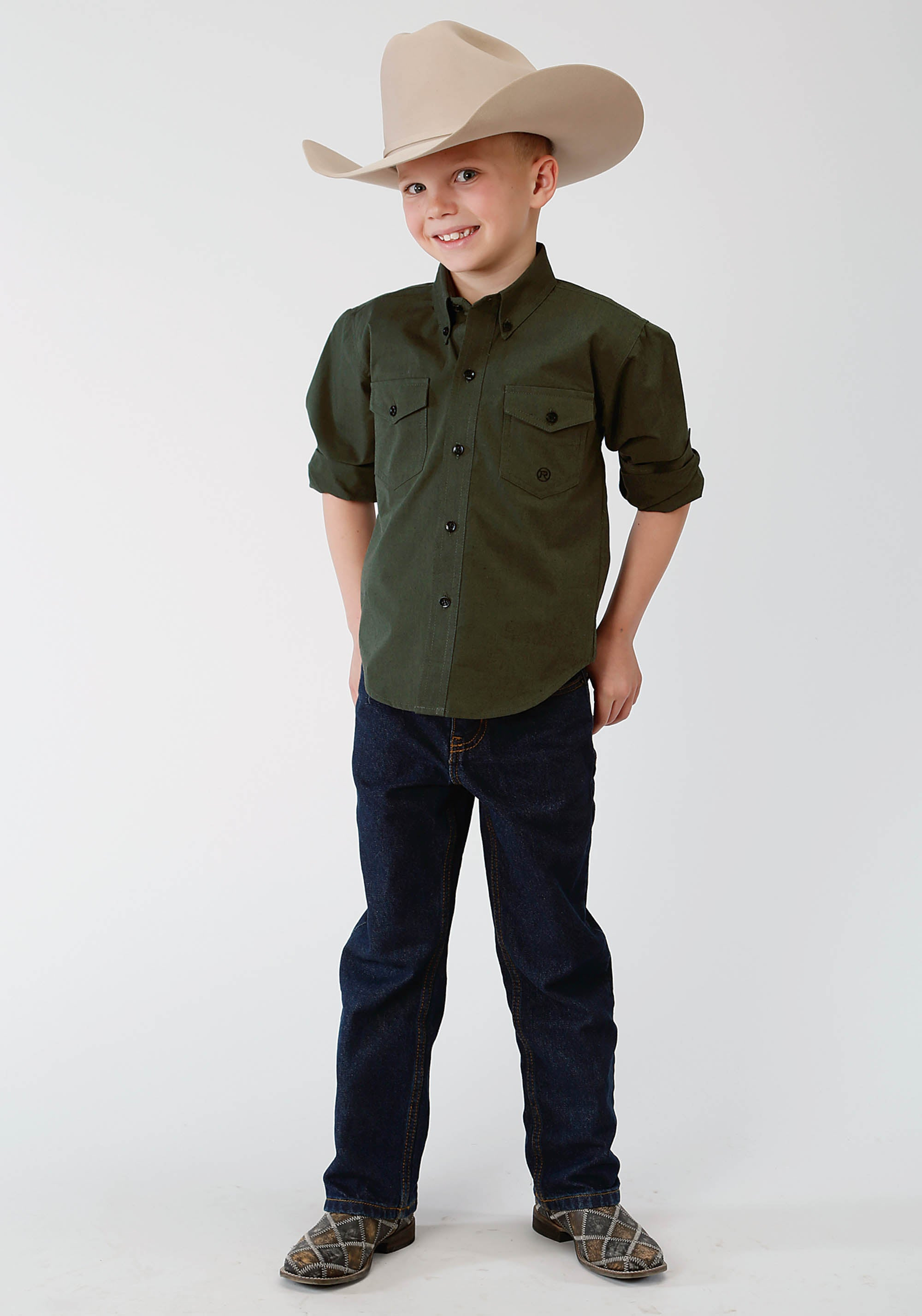 ROPER BOYS GREEN 1413 BLACK FILL OLIVE BOYS AMARILLO COLLECTION- MEADOW LONG SLEEVE