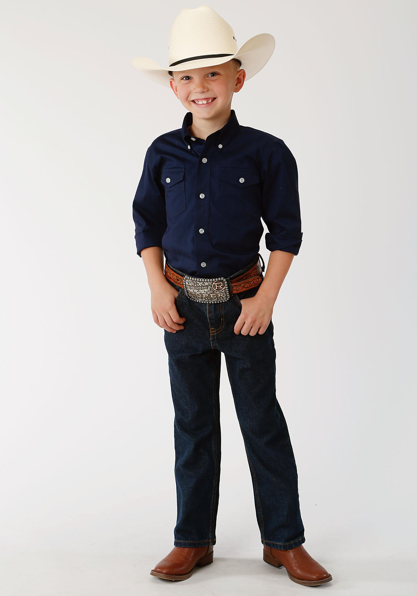 ROPER BOYS BLUE 00068 SOLID POPLIN - NAVY BOYS AMARILLO COLLECTION- HERITAGE LONG SLEEVE