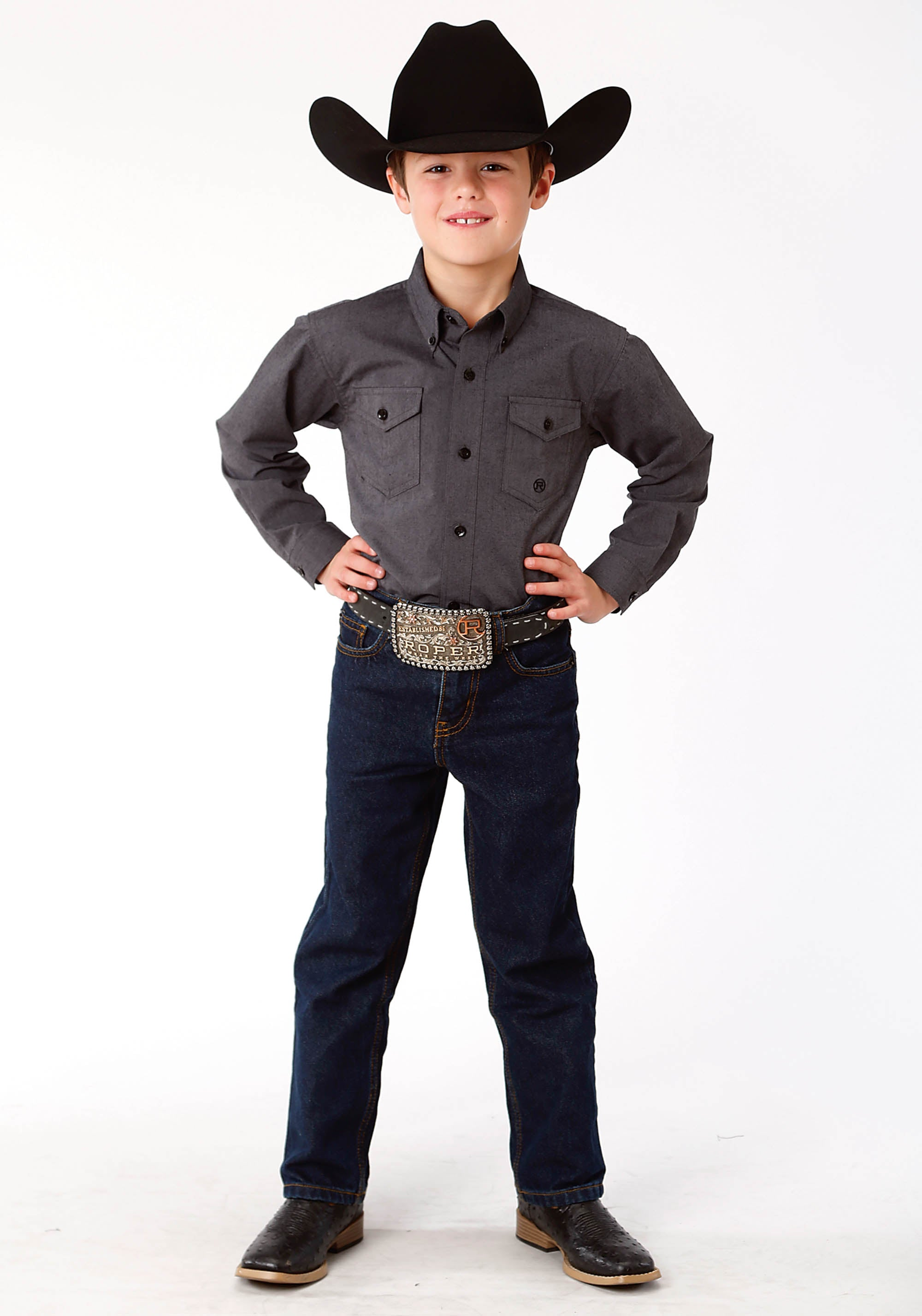 ROPER BOYS GREY 9723 GRAY BLACK FILL SOLID BOYS AMARILLO COLLECTION- CHARCOAL EMBERS LONG SLEEVE
