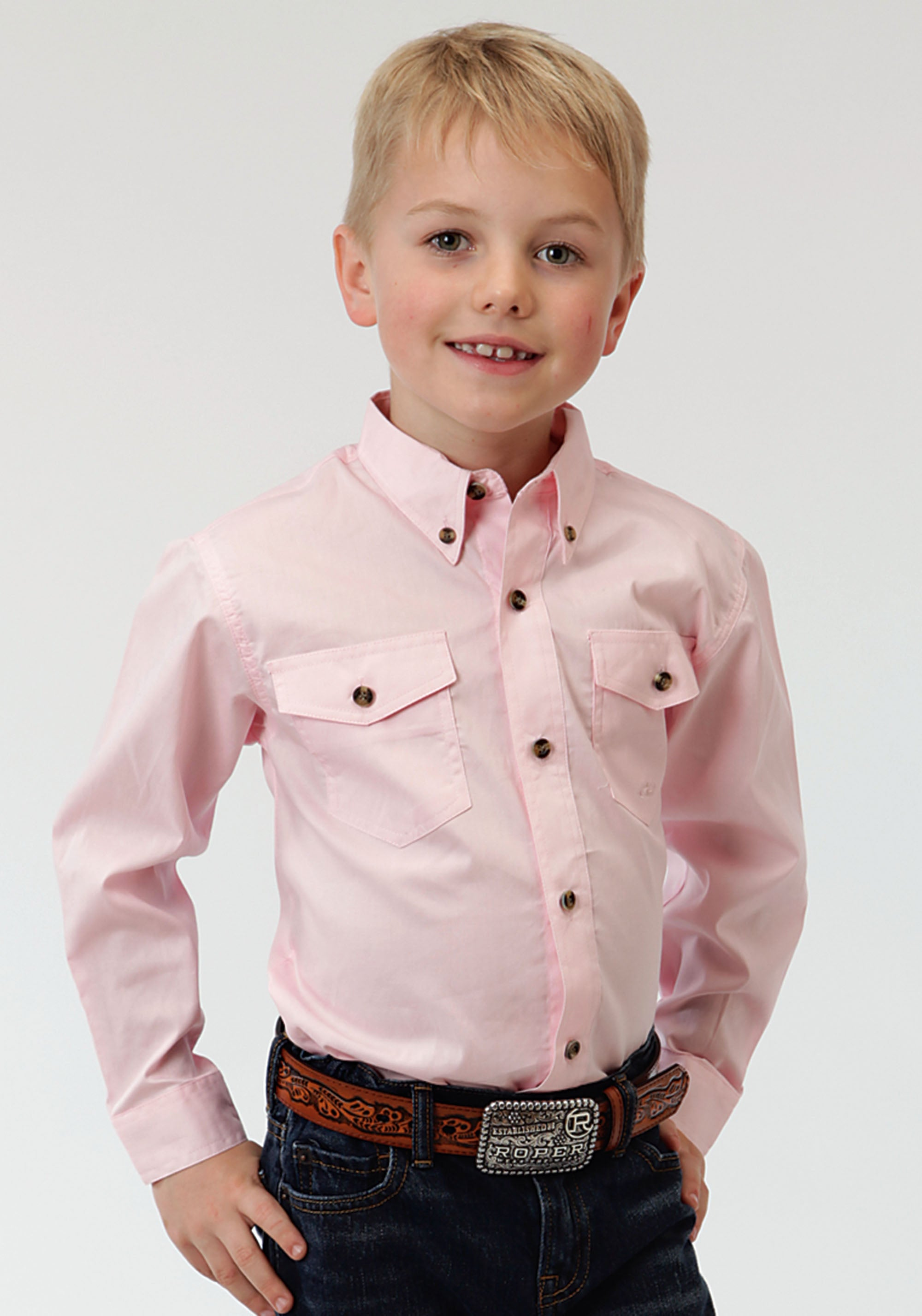 ROPER BOYS PINK SOLID POPLIN WESTERN MODLE VERGTD SNAP SOLID POPLIN BUTTON COLLECTION LONG SLEEVE SHIRT