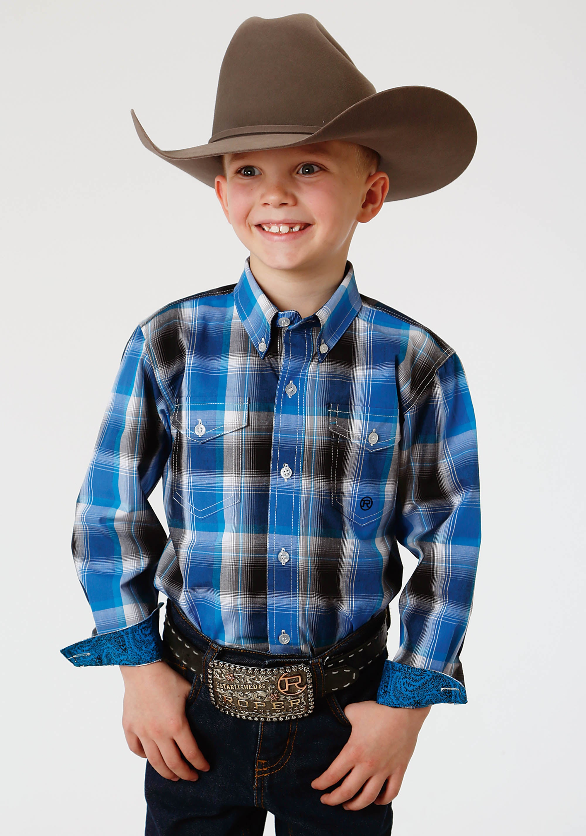 ROPER BOYS BLUE 1353 BLUE STAR PLAID BOYS AMARILLO COLLECTION- STARLIGHT LONG SLEEVE