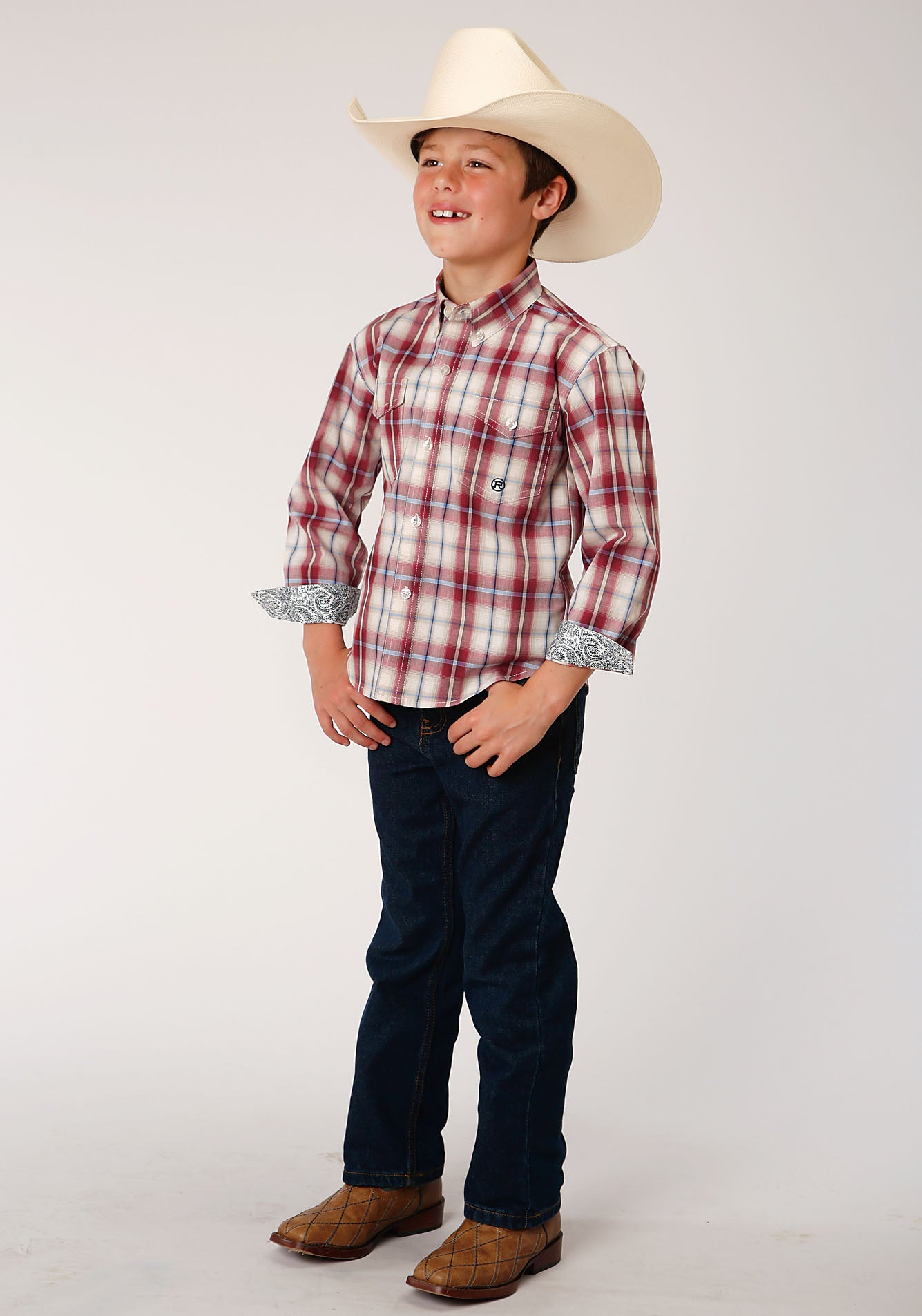 ROPER BOYS RED 00018 VINTAGE PLAID BOYS AMARILLO COLLECTION- HERITAGE LONG SLEEVE