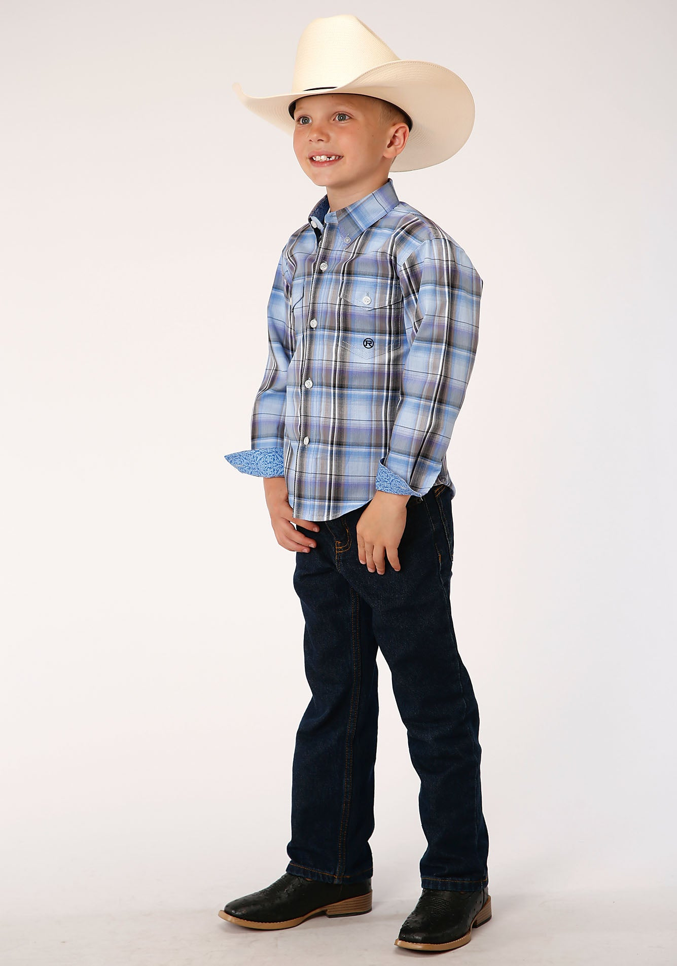 ROPER BOYS BLUE 00019 COOL BREEZE PLAID BOYS AMARILLO COLLECTION- DUSK LONG SLEEVE