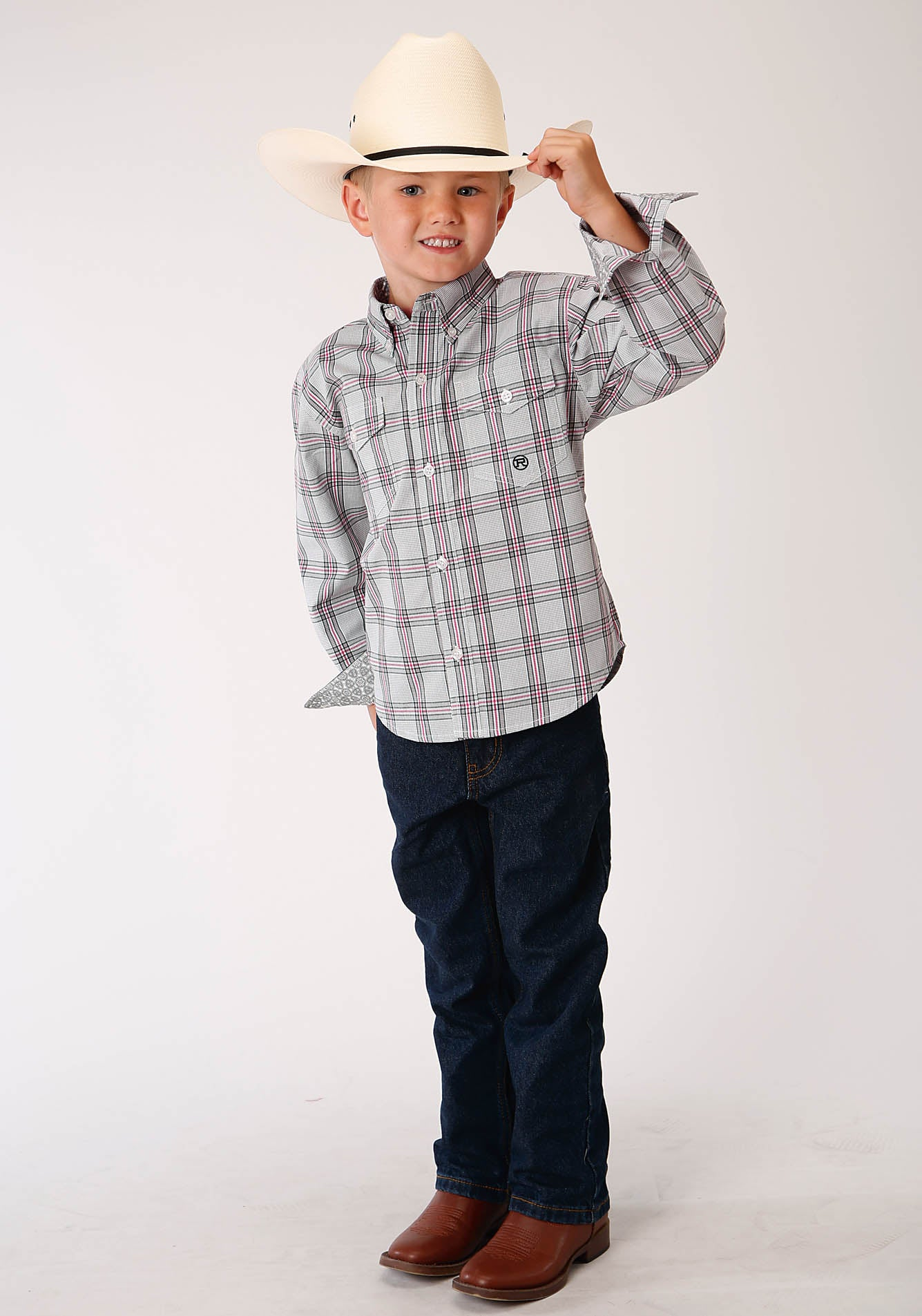 ROPER BOYS GREY 00159 COAL CREEK CHECK BOY'S AMARILLO COLLECTION - RED BARN LONG SLEEVE