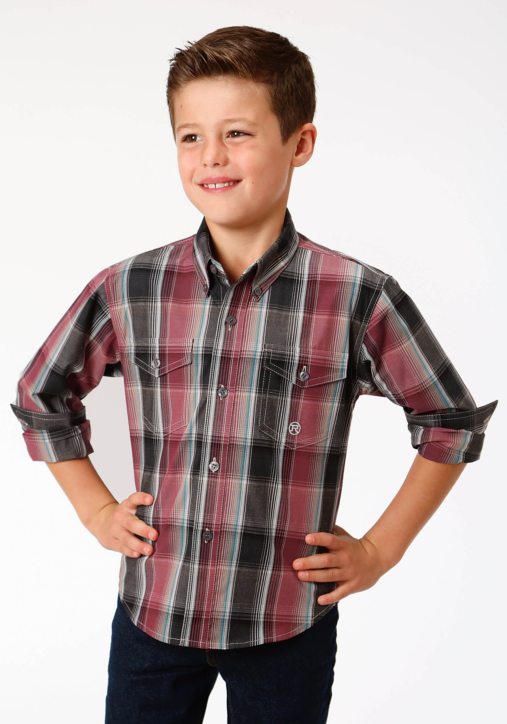 ROPER BOYS RED 9622 EMBERS PLAID BOYS AMARILLO COLLECTION- CHARCOAL EMBERS LONG SLEEVE