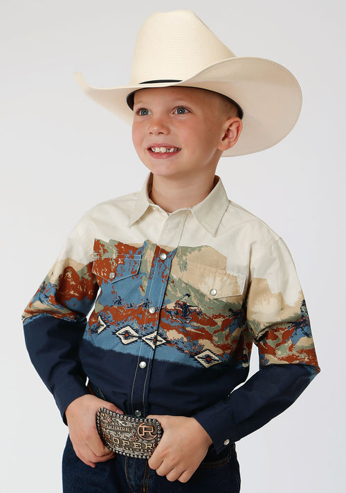 ROPER BOYS BLUE 00073 RIDING BORDER WEST MADE COLLECTION LONG SLEEVE