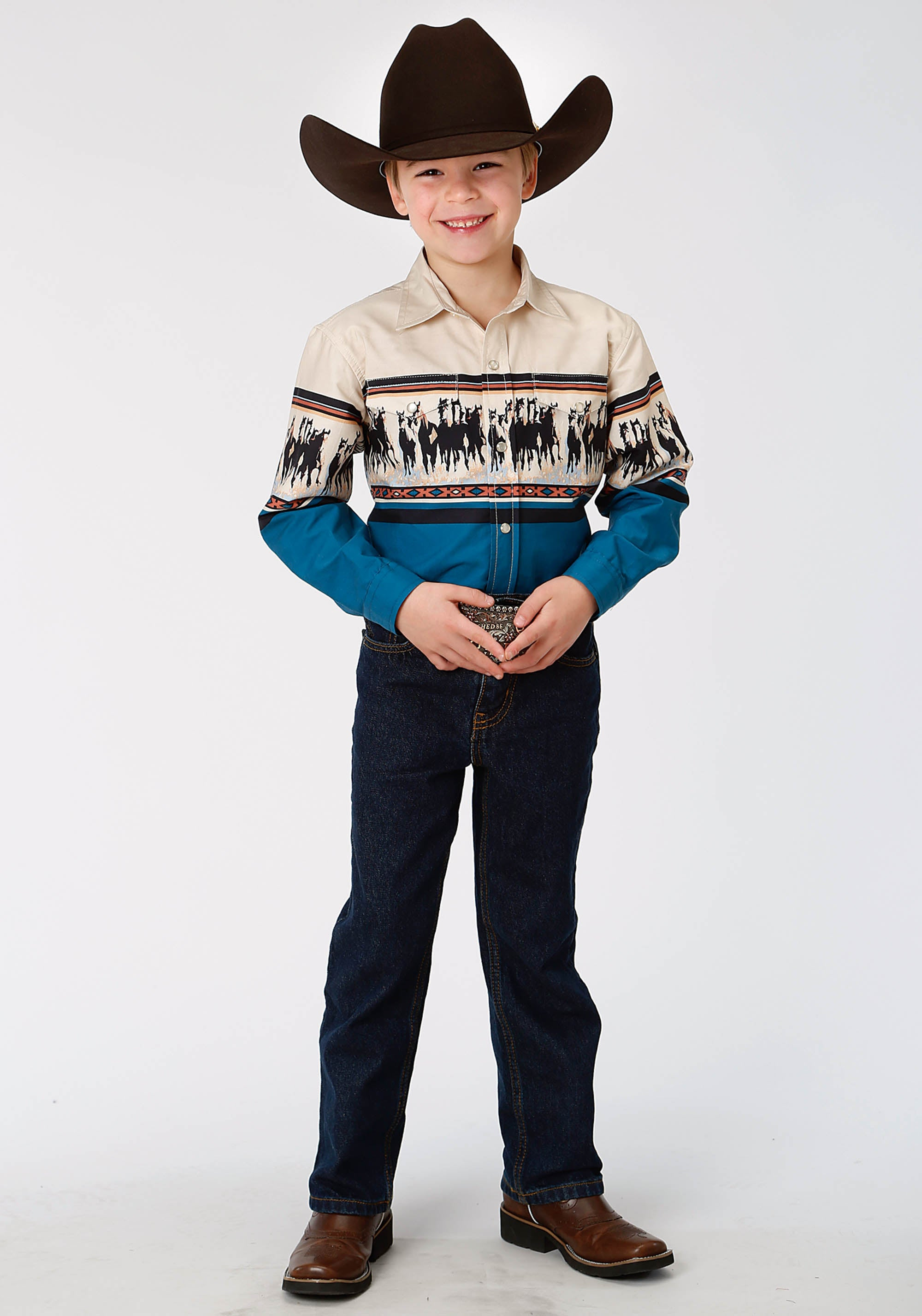 ROPER BOYS BLUE 0806 HORSE BORDER WEST MADE COLLECTION LONG SLEEVE