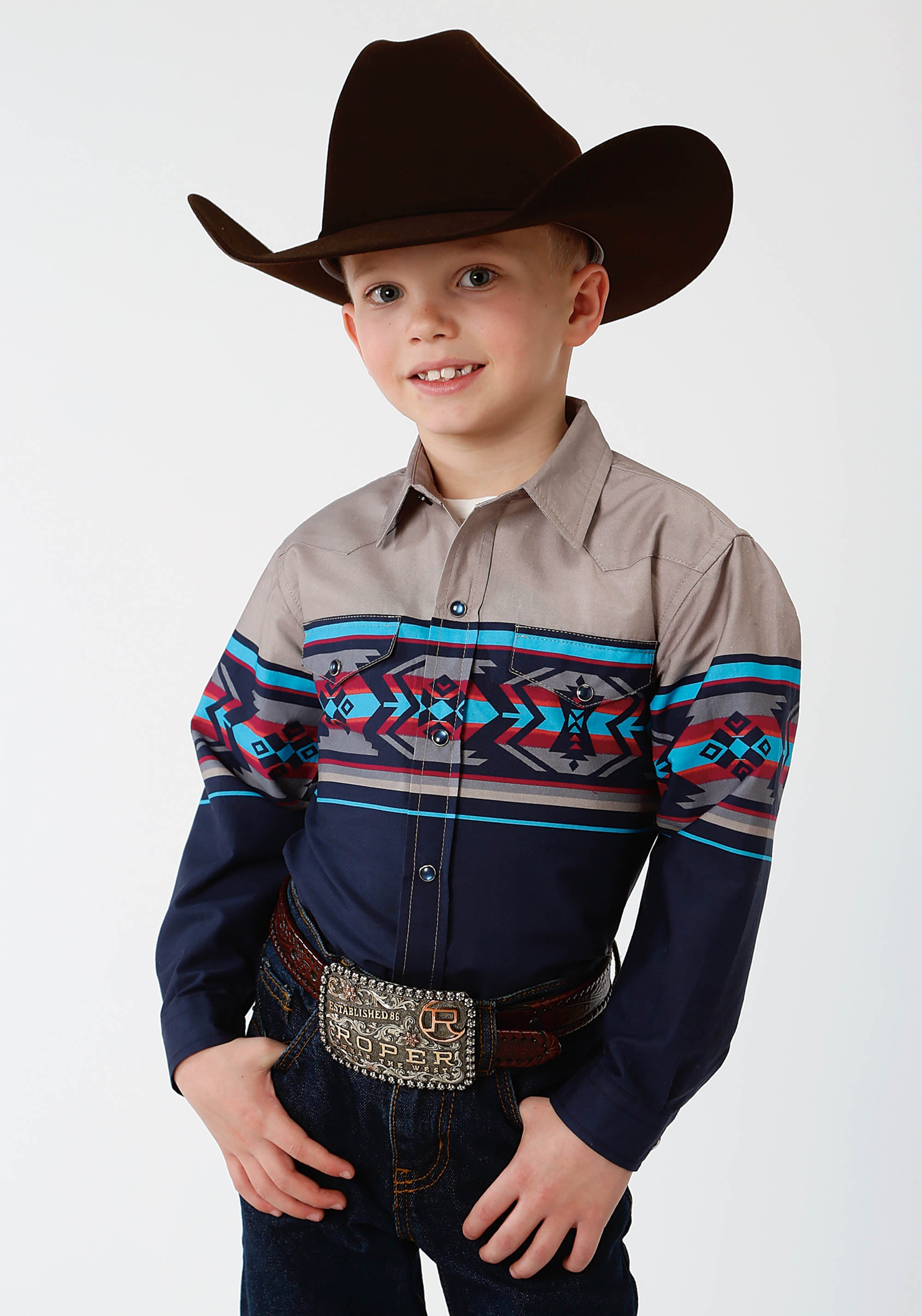 ROPER BOYS BLUE 0809 AZTEC BORDER WEST MADE COLLECTION LONG SLEEVE