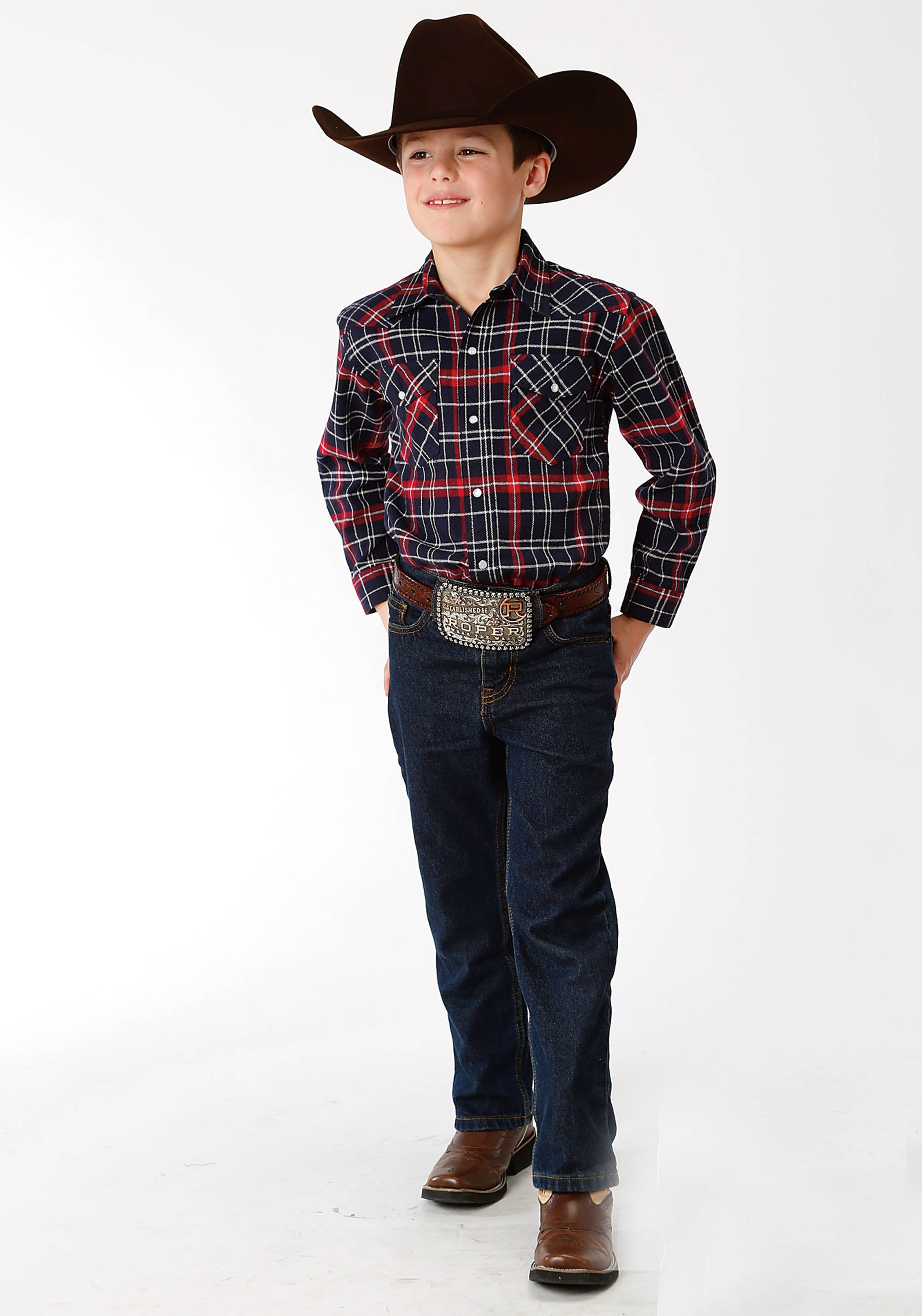 ROPER BOYS RED 9372 RE/NA PLAID FLANNEL SHIRT  LONG SLEEVE