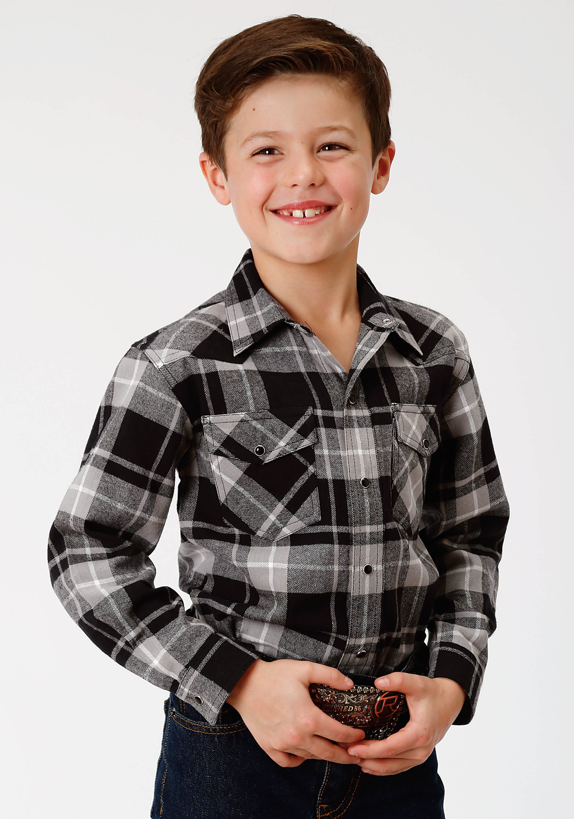 ROPER BOYS BLACK 9372 BL/GY PLAID FLANNEL SHIRT  LONG SLEEVE