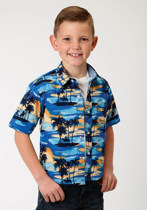 ROPER BOYS BLUE 2178 BLUE HAWAII PRINT WEST MADE COLLECTION SHORT SLEEVE