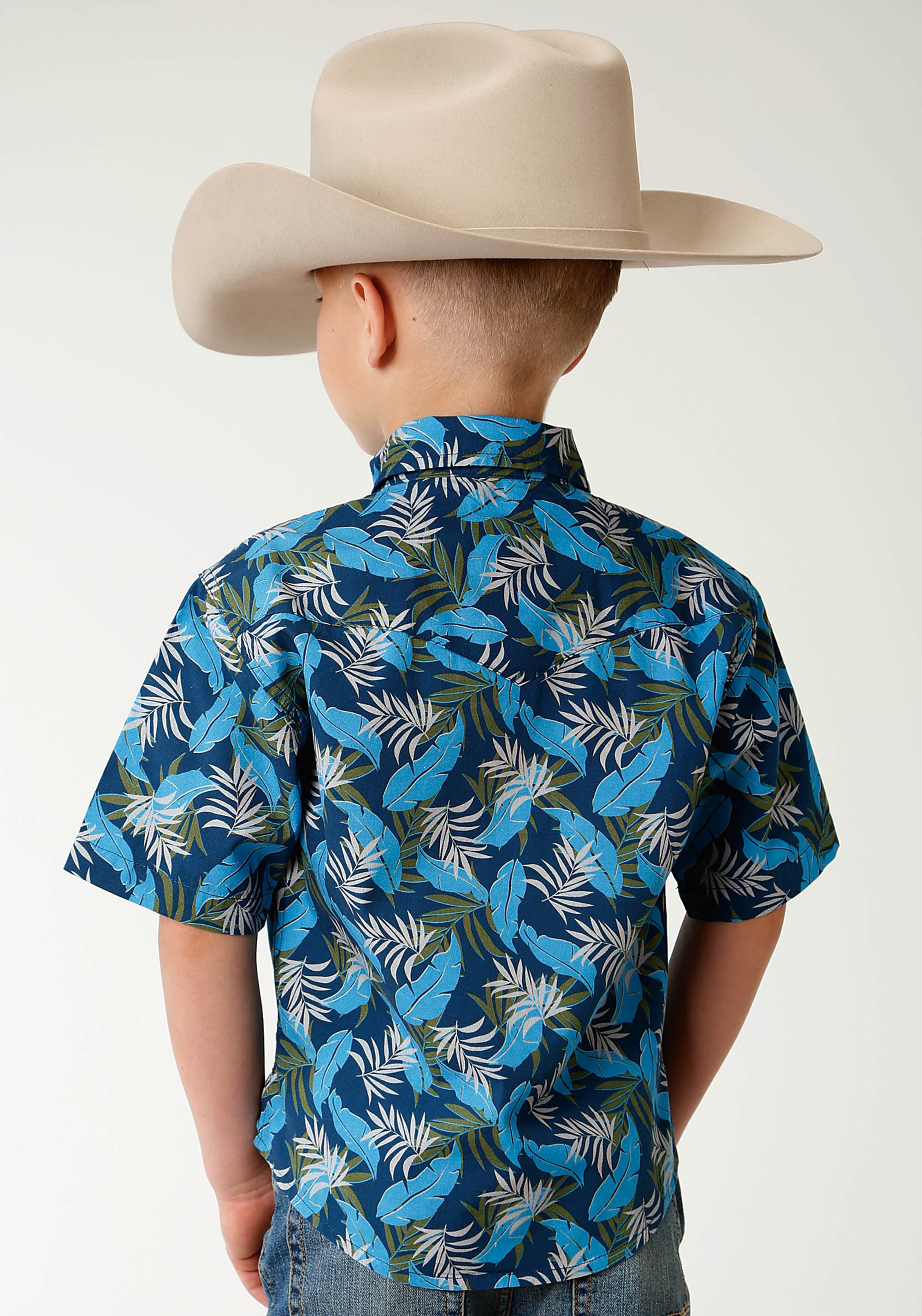 ROPER BOYS BLUE 2612 BLUE TROPICS PRINT WEST MADE COLLECTION SHORT SLEEVE