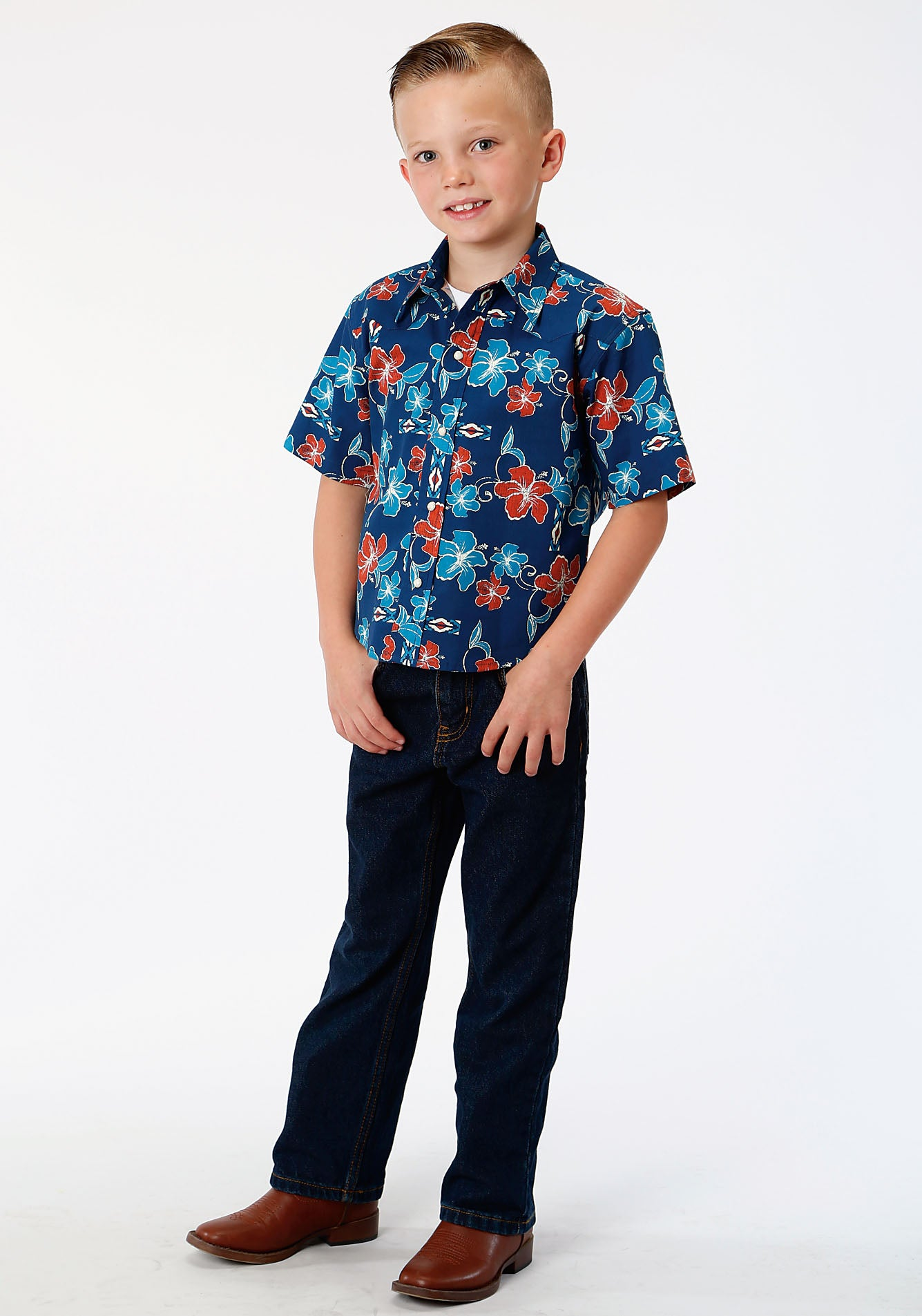 ROPER BOYS BLUE 00081 NEW TROPTICAL PRINT WEST MADE COLLECTION SHORT SLEEVE