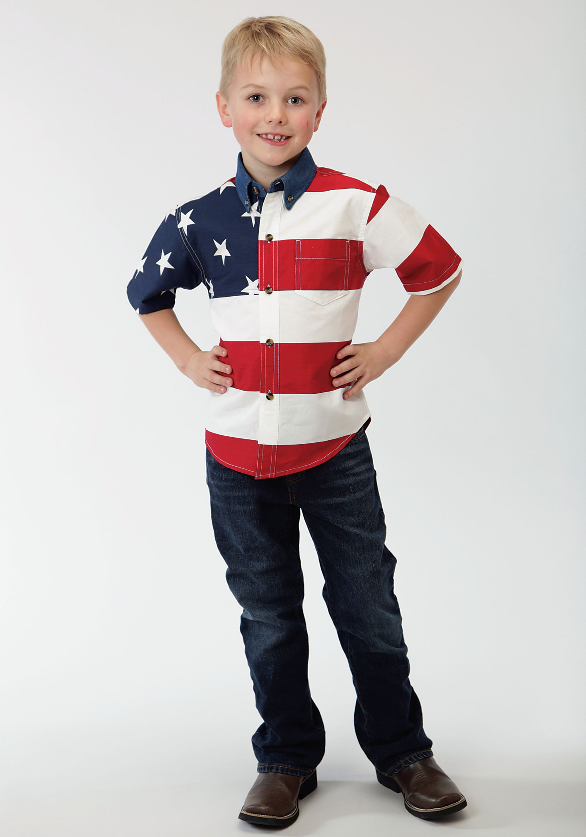 ROPER BOYS WHITE STARS & STRIPES PIECED AMERICAN FLAG PATRIOTIC COLLECTION SHORT SLEEVE SHIRT