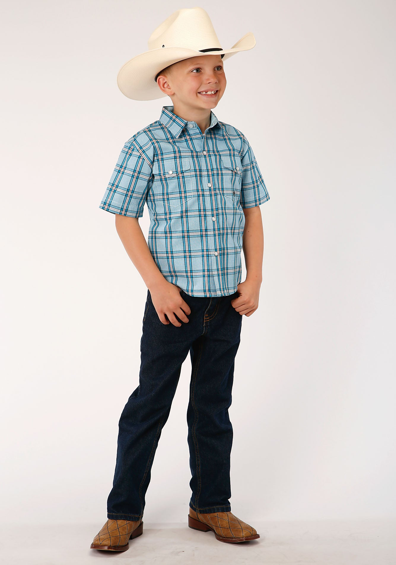 ROPER BOYS BLUE 00017 COLD CREEK PLAID BOYS AMARILLO COLLECTION- OASIS SHORT SLEEVE