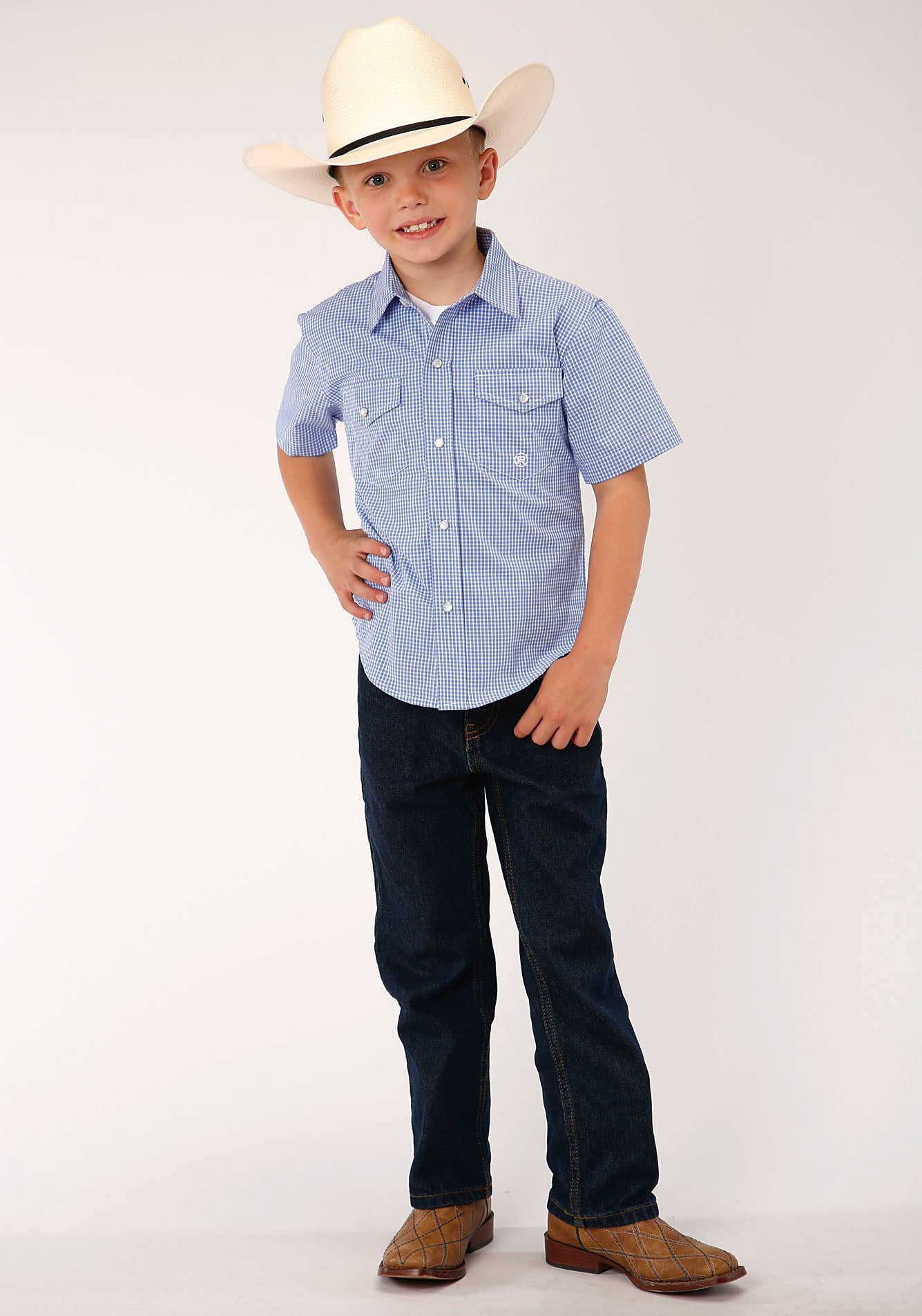 ROPER BOYS BLUE 00069 MINI CHECK - PERIWINKLE BOYS AMARILLO COLLECTION- DUSK SHORT SLEEVE