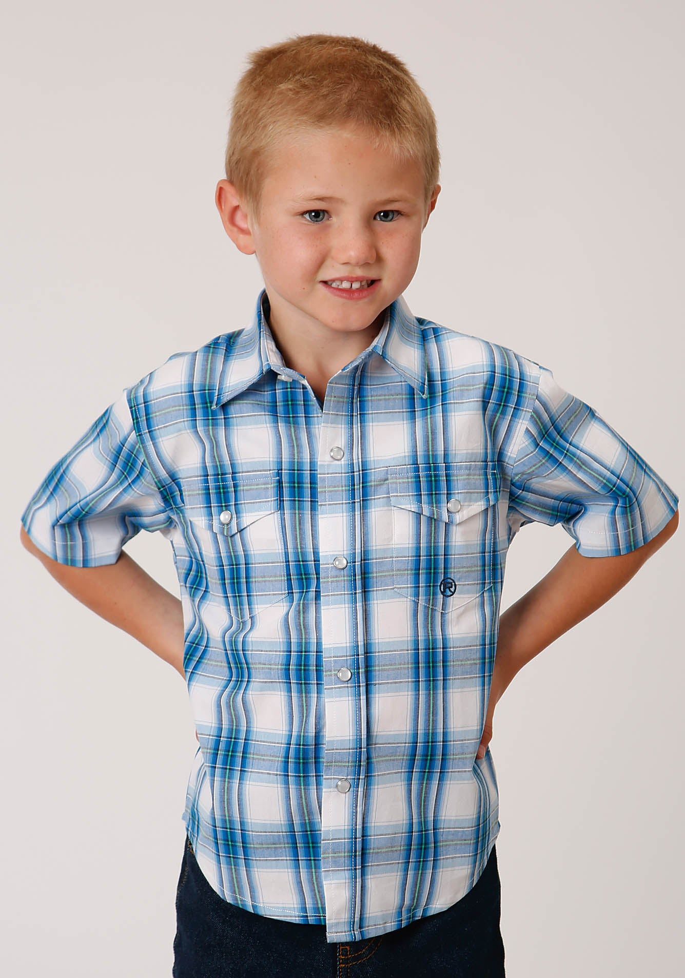 ROPER BOYS BLUE 00158 BLUE BROOK PLAID BOYS AMARILLO COLLECTION - BLUE RIDGE SHORT SLEEVE