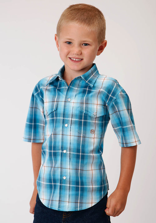 ROPER BOYS BLUE 00163 BLUE MESA PLAID BOY'S AMARILLO COLLECTION - DESERT SKY SHORT SLEEVE