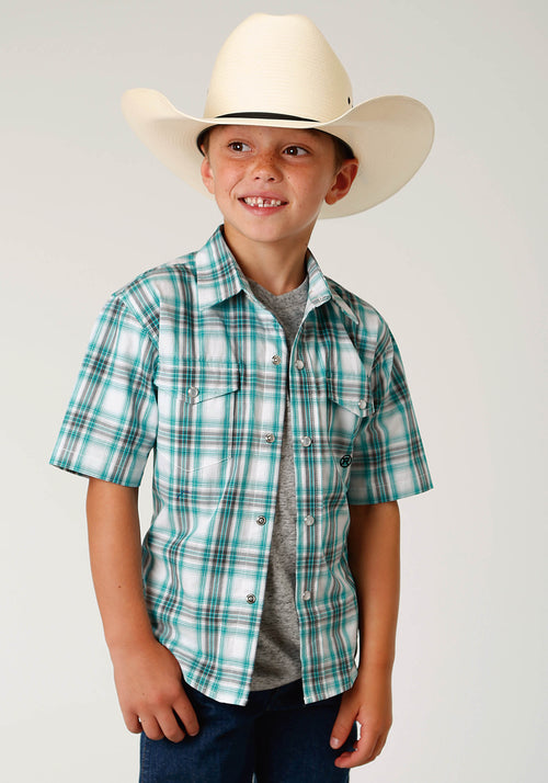 ROPER BOYS BLUE 3336 SEA PLAID BOYS AMARILLO COLLECTION- DEEP SEA SHORT SLEEVE