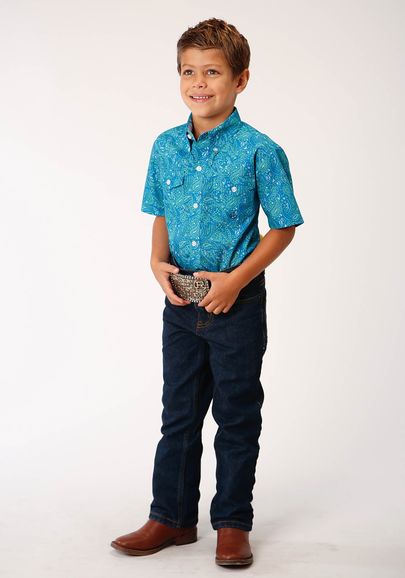 ROPER BOYS BLUE 00152 MEADOW PAISLEY BOY'S AMARILLO COLLECTION - BLUE RIDGE SHORT SLEEVE