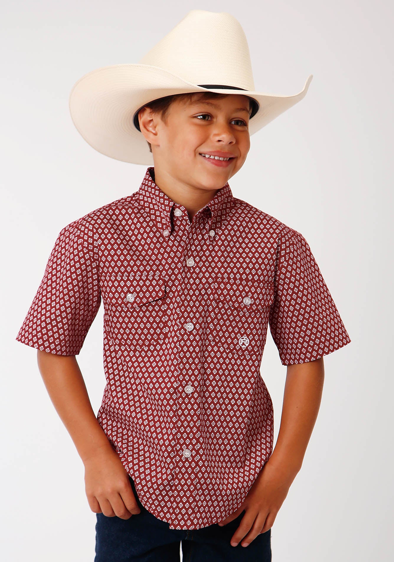 ROPER BOYS RED 00153 RED BARN FOULARD BOY'S AMARILLO COLLECTION - RED BARN SHORT SLEEVE