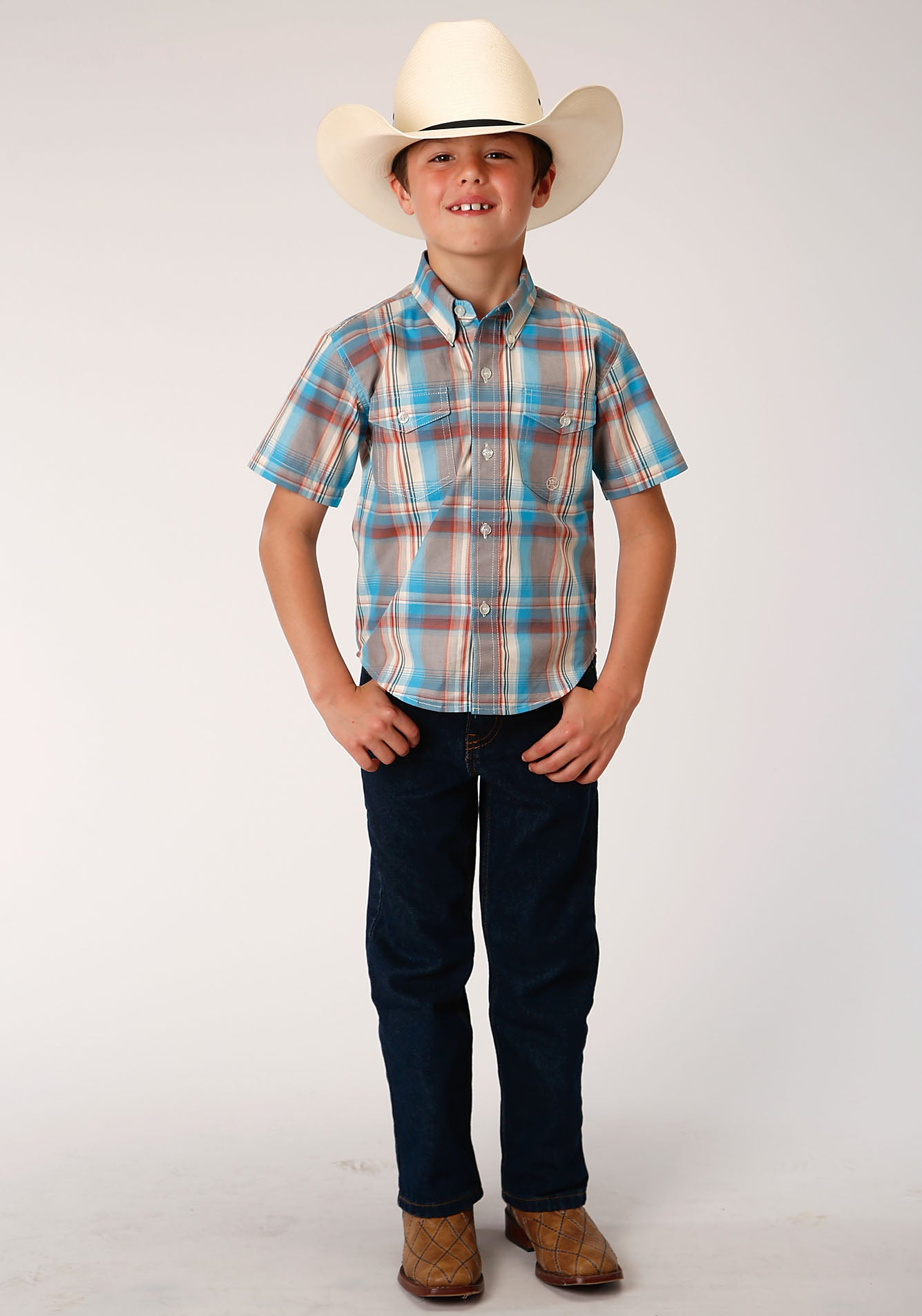 ROPER BOYS BROWN 00016 OASIS PLAID BOYS AMARILLO COLLECTION- OASIS SHORT SLEEVE