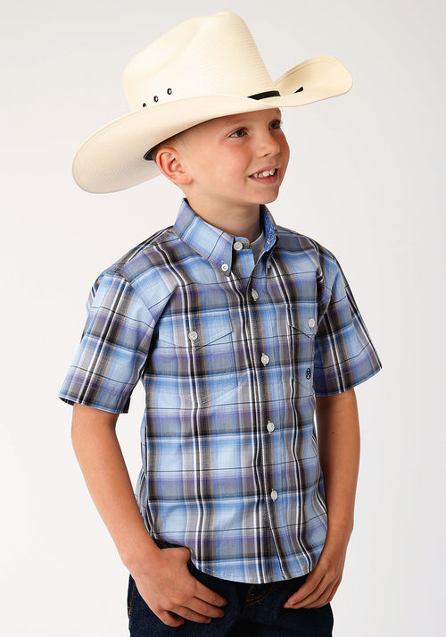 ROPER BOYS BLUE 00019 COOL BREEZE PLAID BOYS AMARILLO COLLECTION- DUSK SHORT SLEEVE