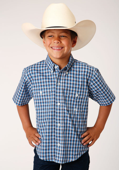ROPER BOYS BLUE 00021 AMERICANA CHECK BOYS AMARILLO COLLECTION- HERITAGE SHORT SLEEVE