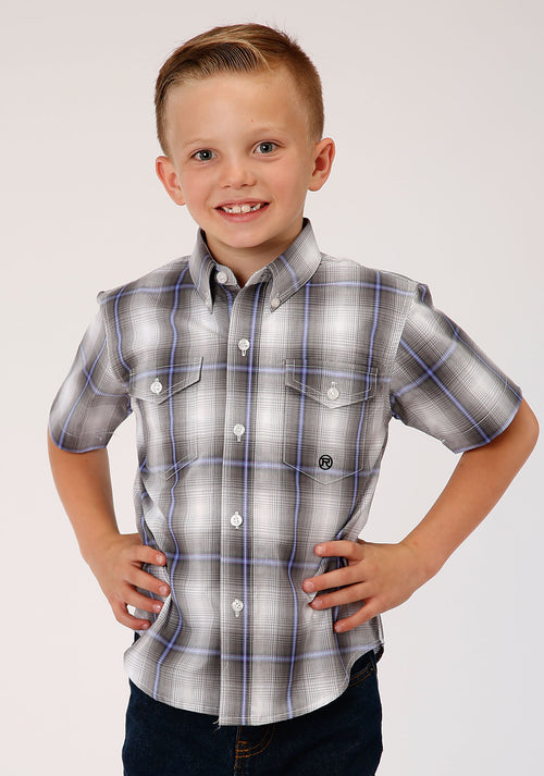 ROPER BOYS GREY 00022 GRAY SHADOW PLAID BOYS AMARILLO COLLECTION- DUSK SHORT SLEEVE
