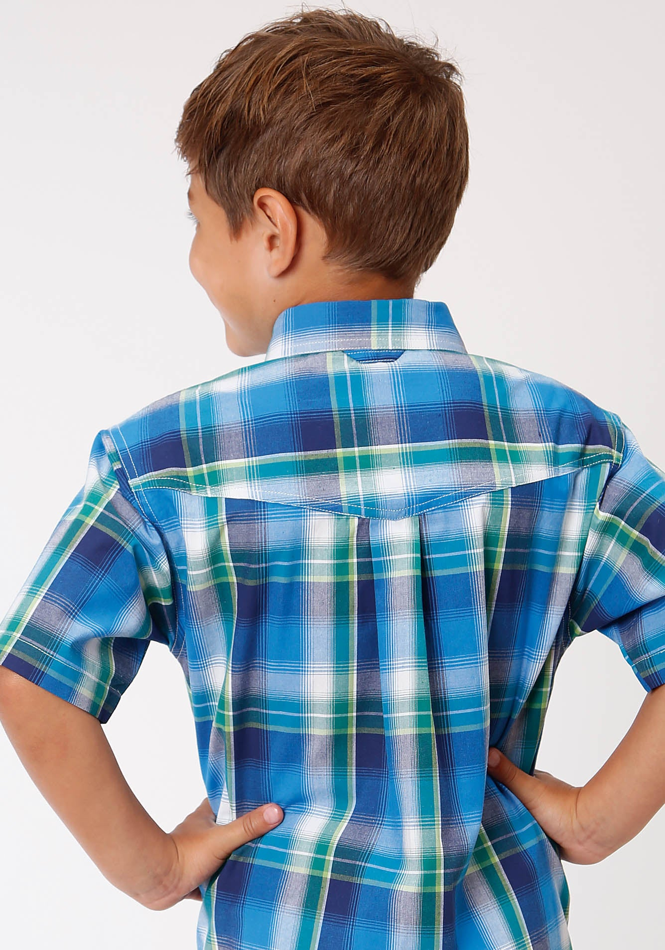 ROPER BOYS BLUE 00157 WATER PLAID BOY'S AMARILLO COLLECTION - BLUE RIDGE SHORT SLEEVE