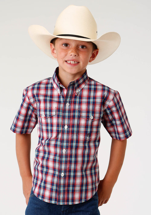 ROPER BOYS BLUE 3304 NEW ENGLAND PLAID BOYS AMARILLO COLLECTION- TRUE BLUE SHORT SLEEVE