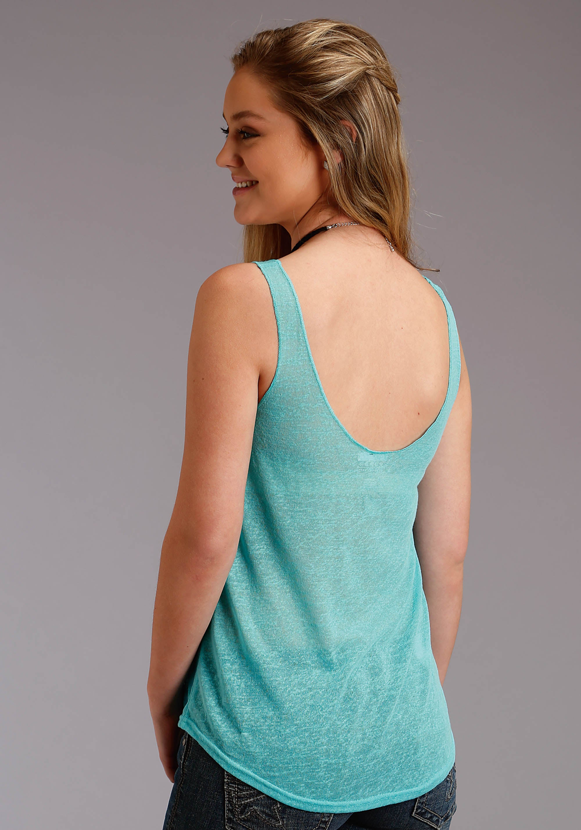 ROPER WOMENS BLUE 3127 SHEER SLUB JERSEY TANK FIVE STAR COLLECTION- SPRING II SLEEVELESS