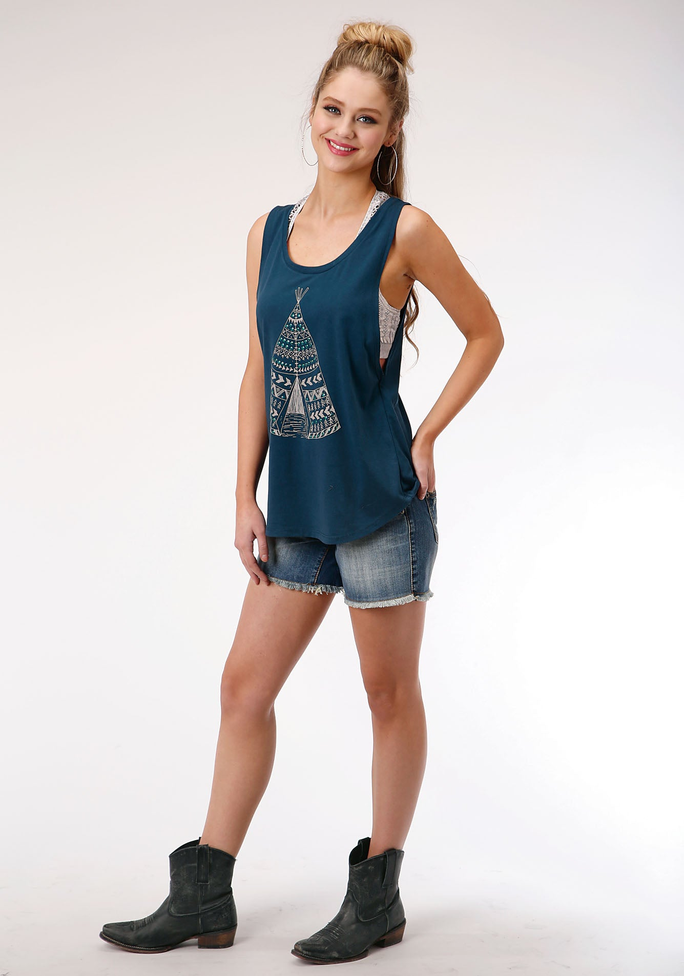 ROPER WOMENS BLUE 00133 POLY COTTON JERSEY TANK FIVE STAR COLLECTION- SPRING II SLEEVELESS