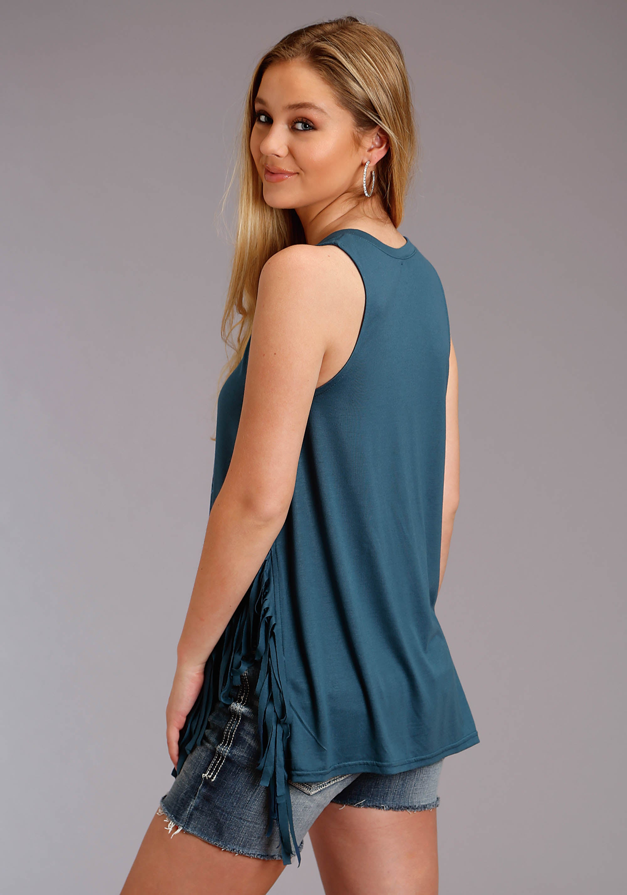ROPER WOMENS BLUE 3126 POLY RAYON JERSEY TANK FIVE STAR COLLECTION- SPRING III SLEEVELESS