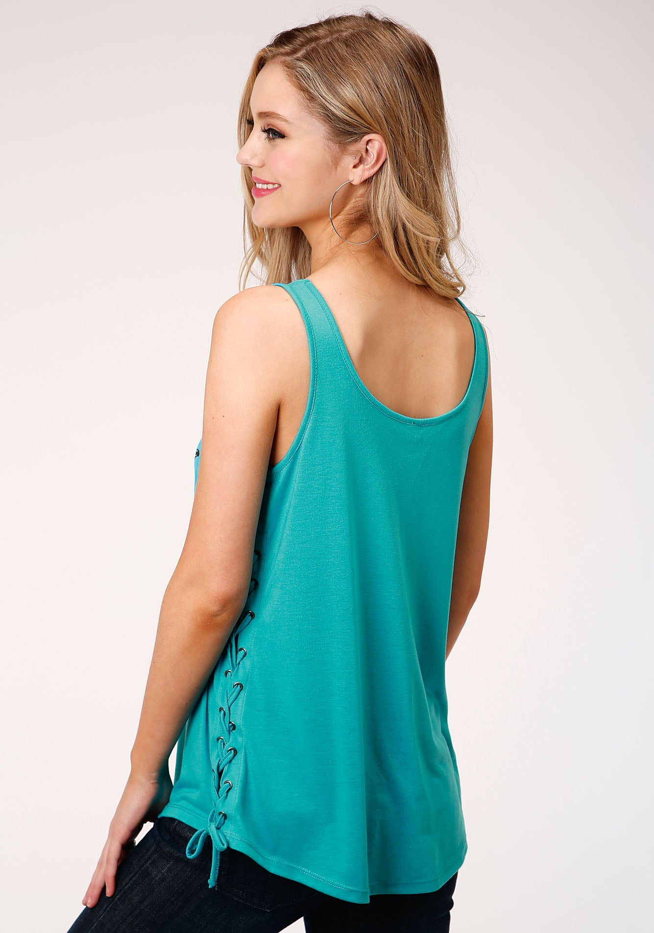 ROPER WOMENS BLUE 000134 POLY RAYON JERSEY TANK FIVE STAR COLLECTION- SPRING III SLEEVELESS