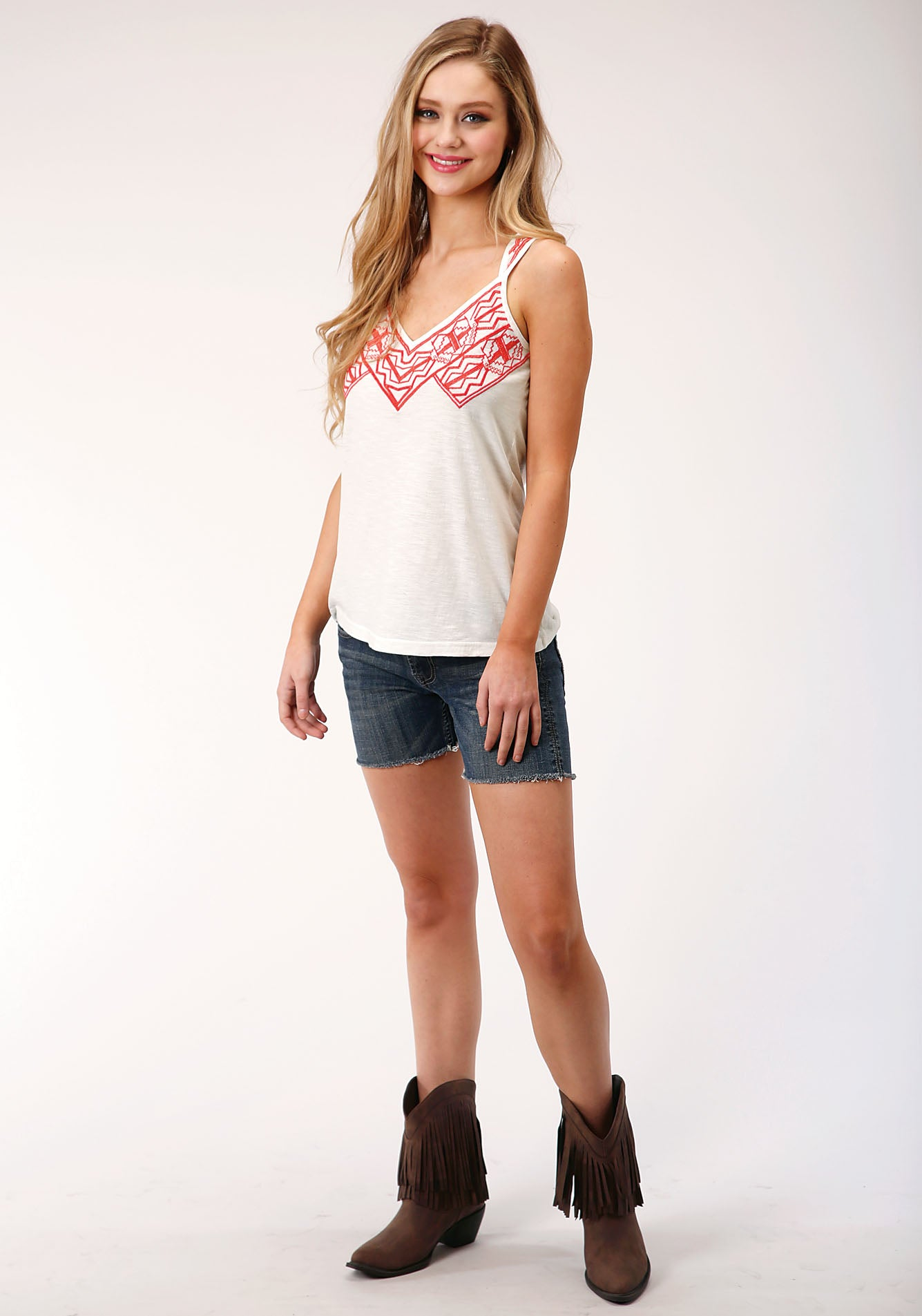 ROPER WOMENS WHITE 00125 COTTON SLUB JERSEY TANK FIVE STAR COLLECTION- SPRING I SLEEVELESS