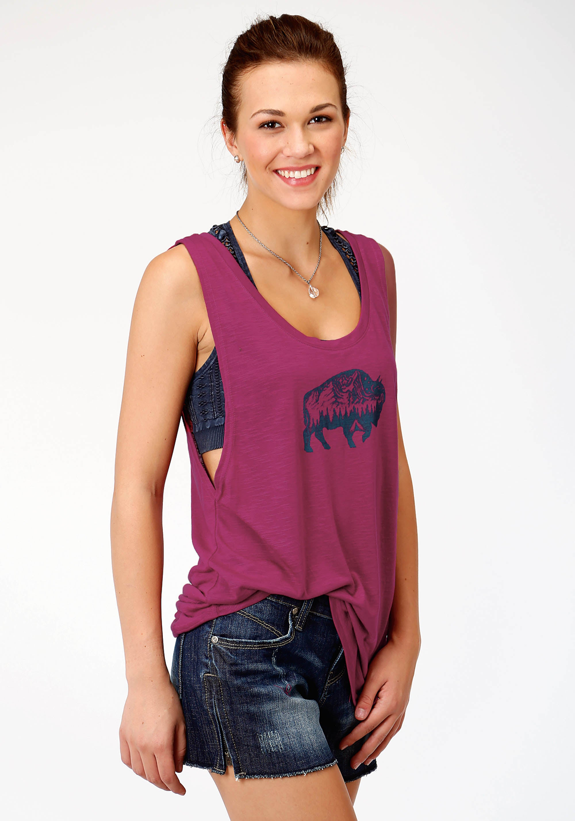 ROPER WOMENS PURPLE 8172 P/R JERSEY TANK FIVE STAR COLLECTION- SUMMER II SLEEVELESS