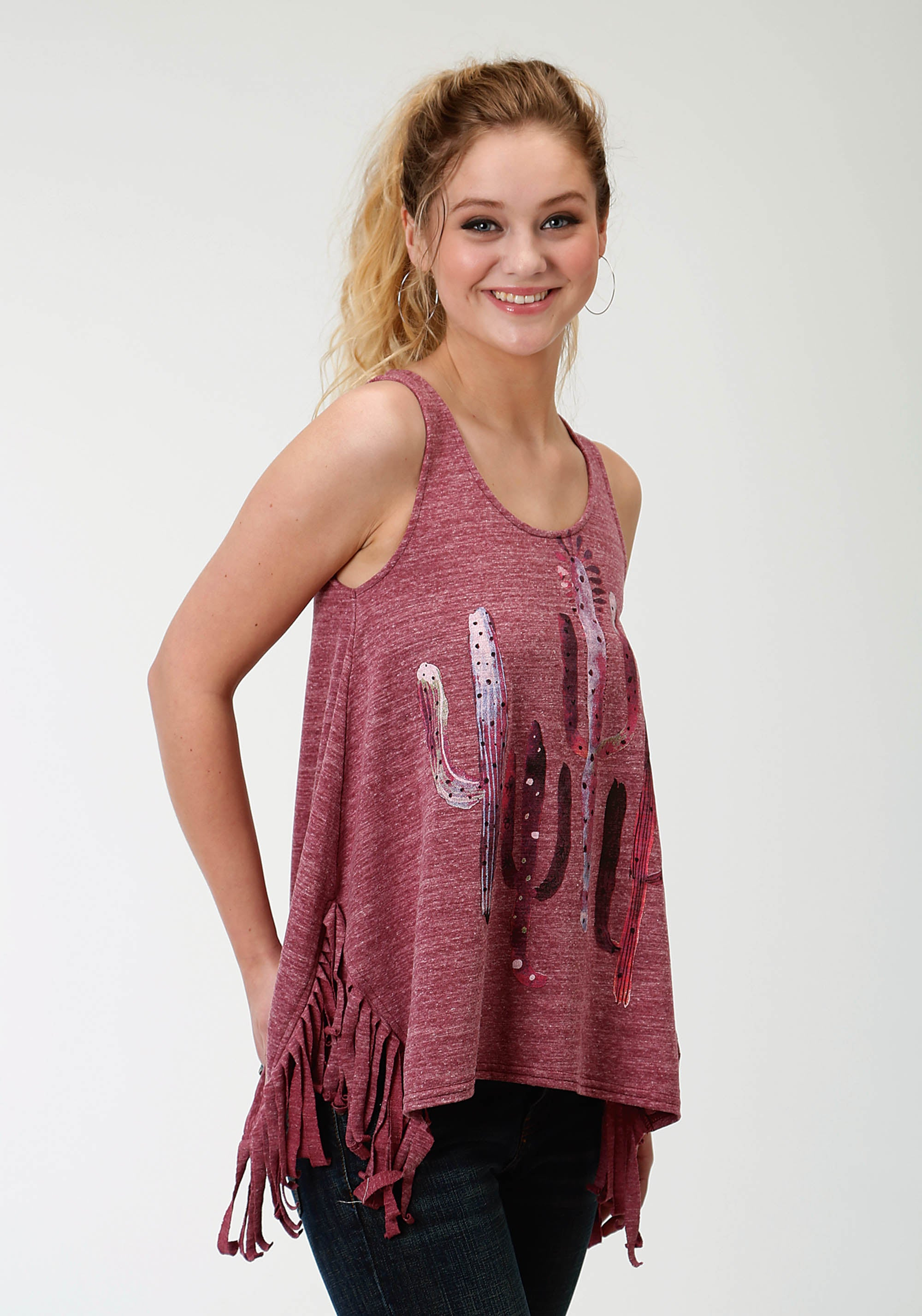 ROPER WOMENS PURPLE 1604 POLY COTTON KNIT FRINGED TANK TOP FIVE STAR- SPRING II SLEEVELESS SHIRT